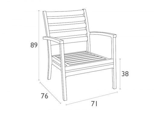 Artemis XL Lounge Armchair - Dimensions