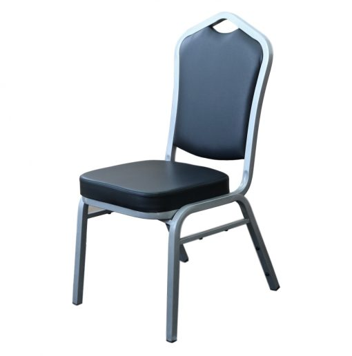 Function Chair Black Vinyl Grey Frame Front