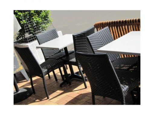 Palm Chairs Black And Stratos Duratop Table Tops