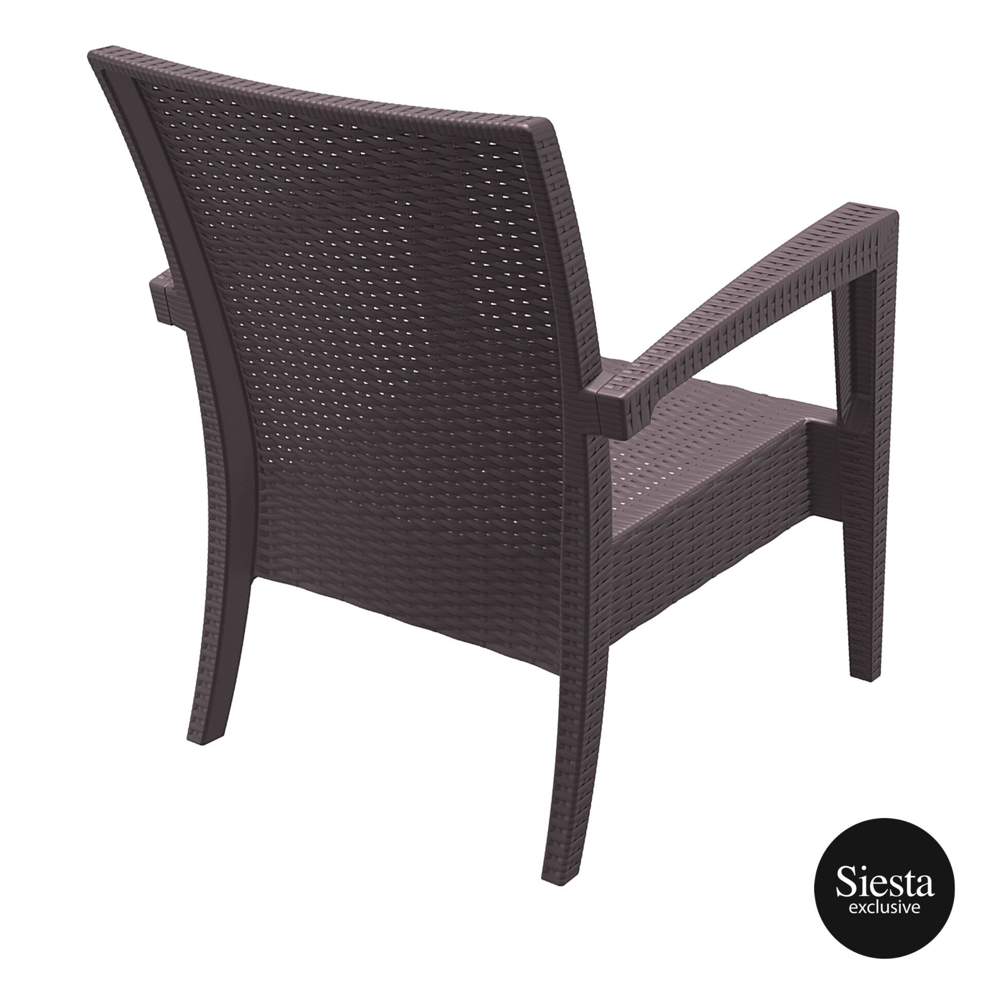 Resin Rattan Miami Tequila Lounge armchair brown back side