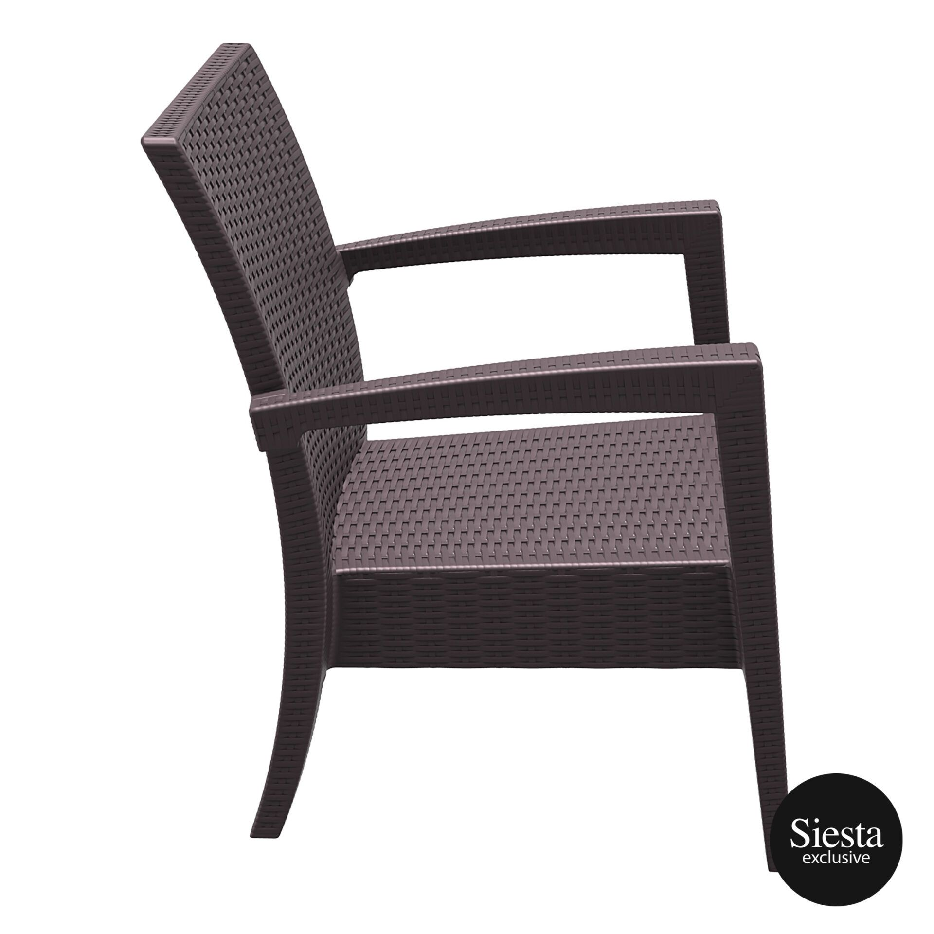 Resin Rattan Miami Tequila Lounge armchair brown side