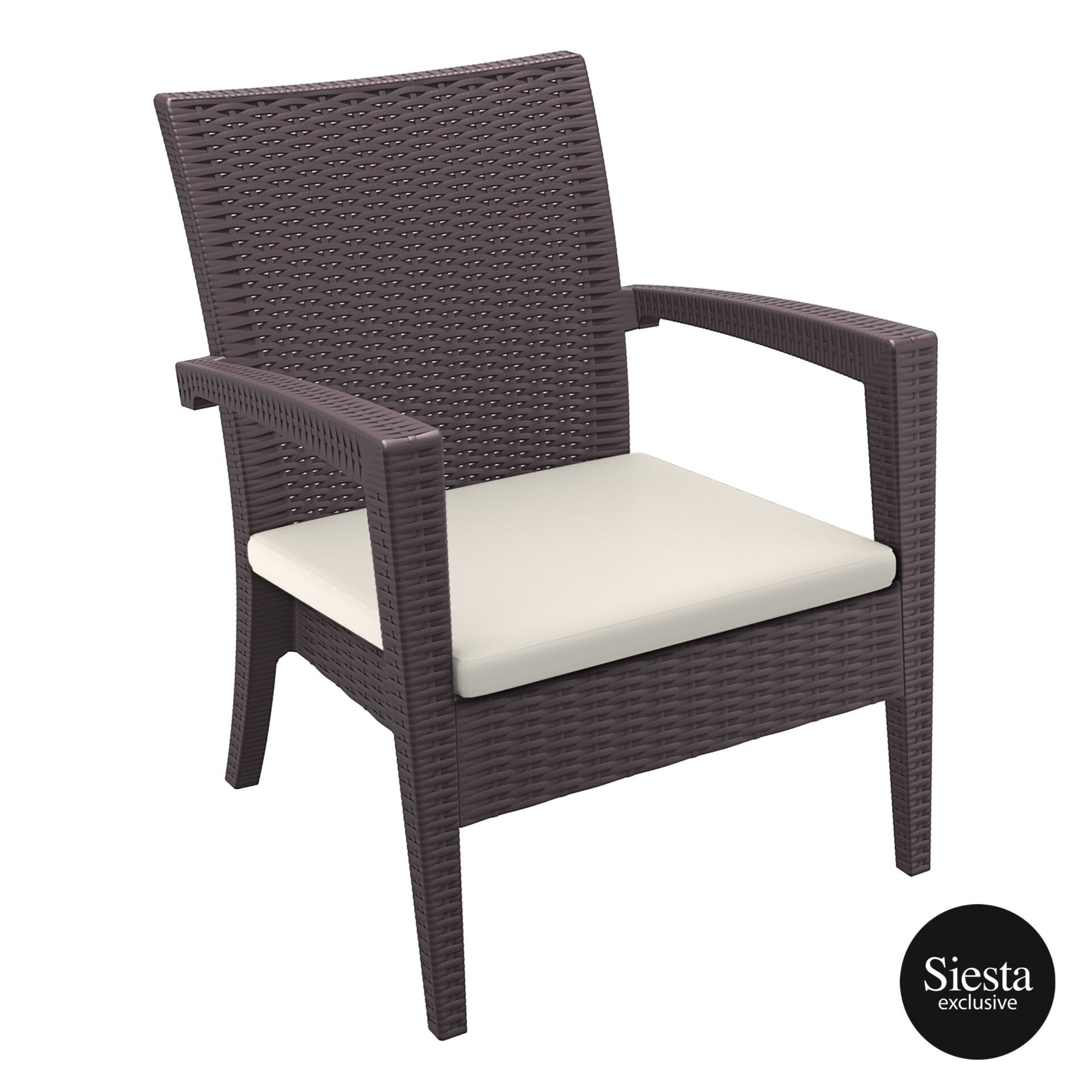 Resin Rattan Miami Tequila Lounge armchair cushion brown front side
