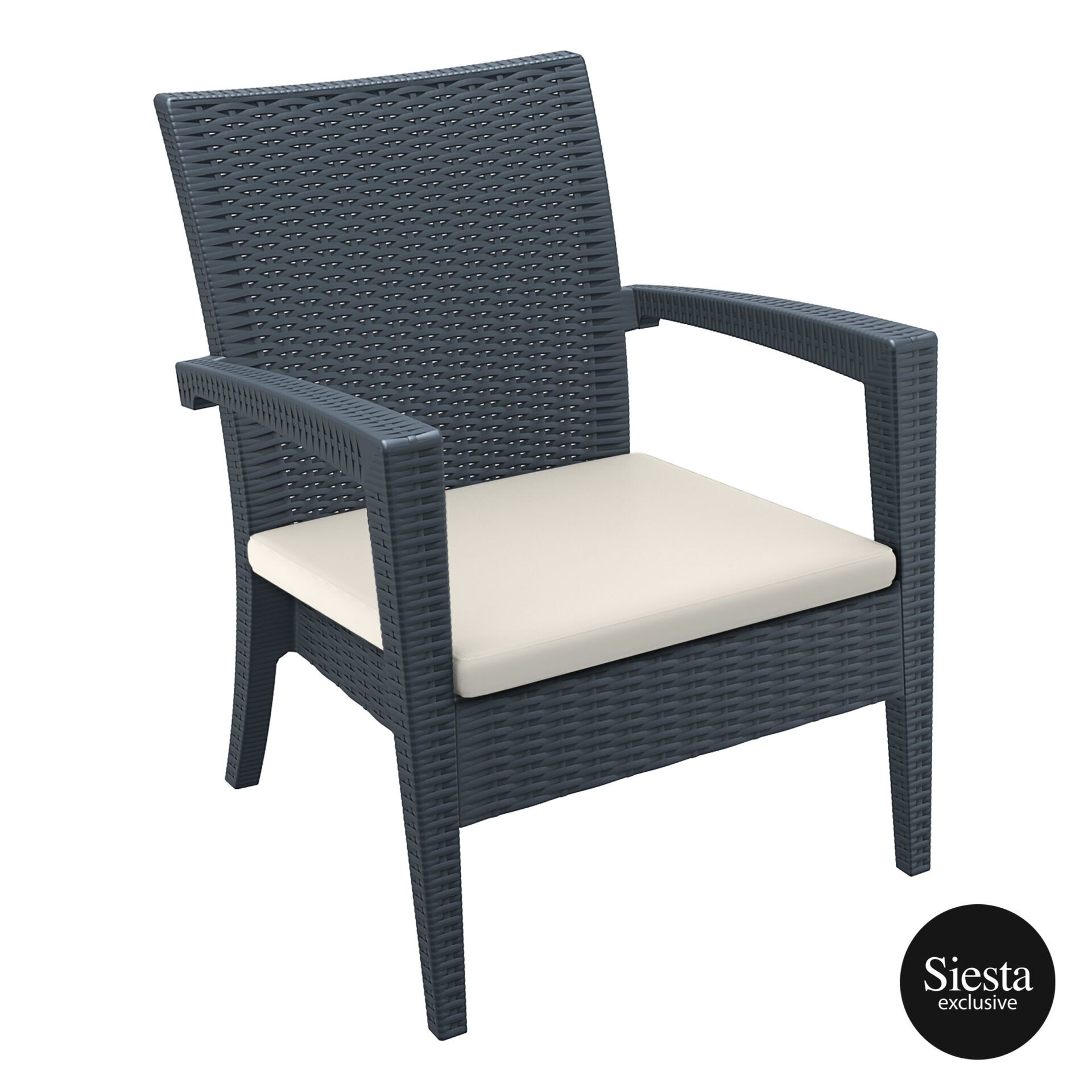 Resin Rattan Miami Tequila Lounge armchair cushion darkgrey front side