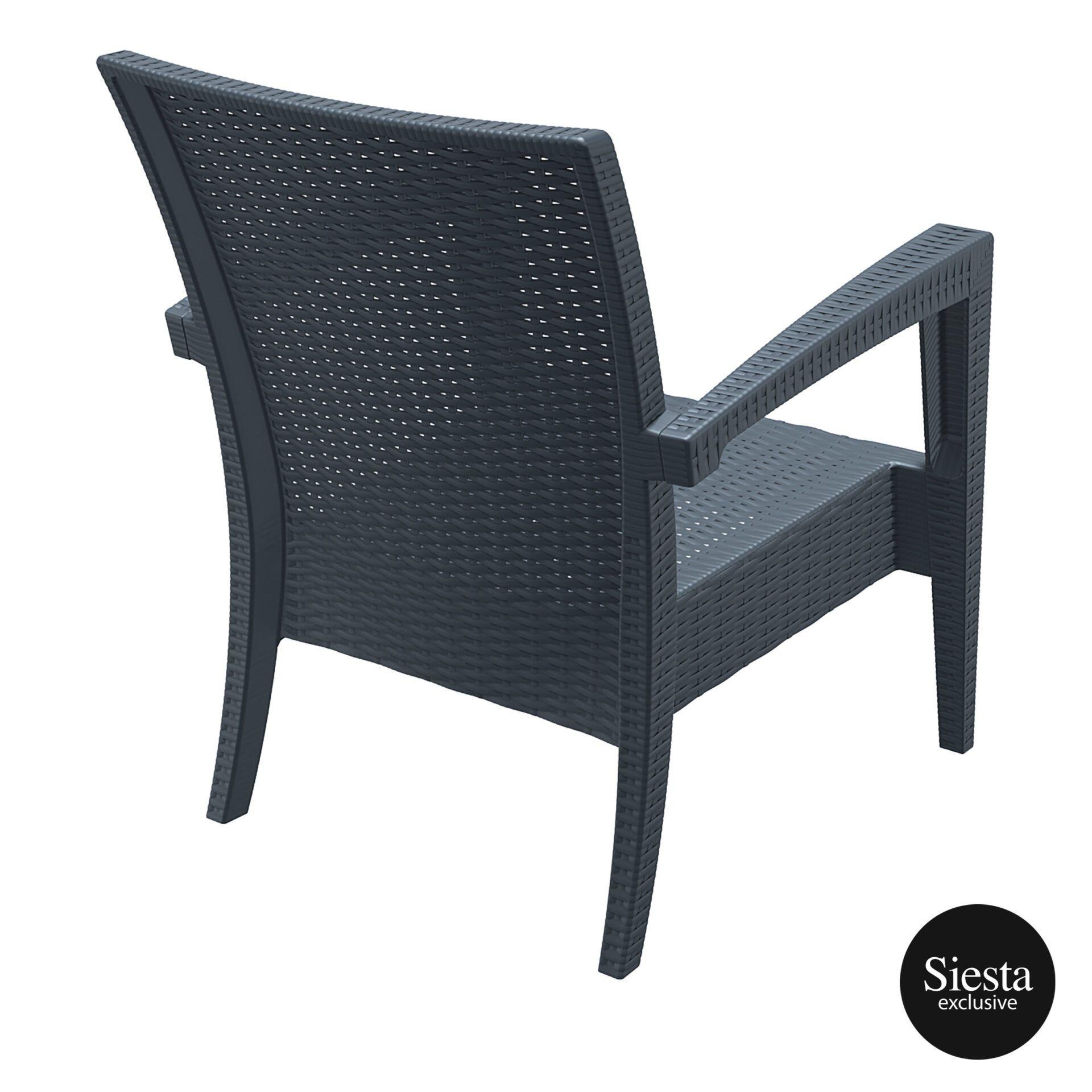 Resin Rattan Miami Tequila Lounge armchair darkgrey back side