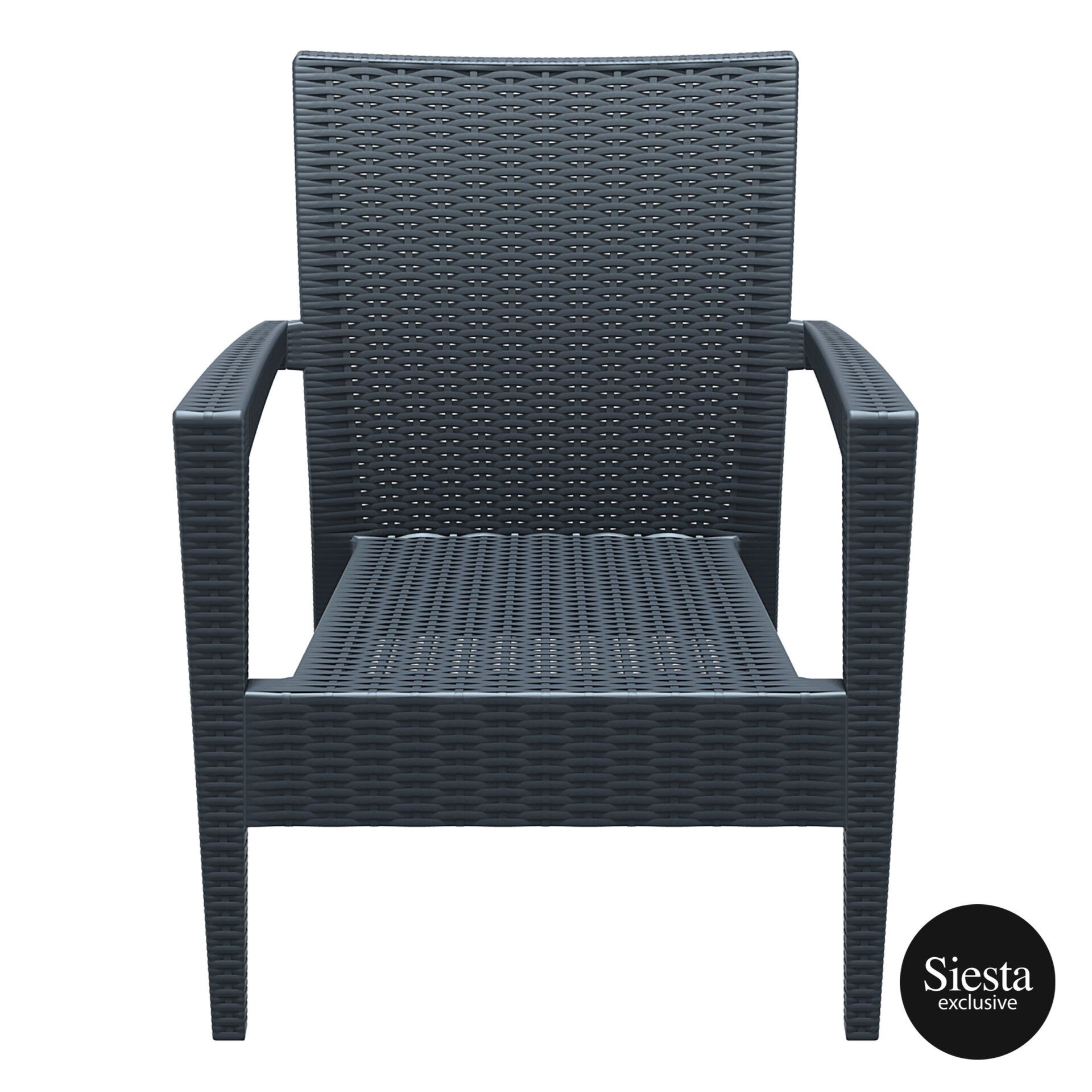 Resin Rattan Miami Tequila Lounge armchair darkgrey front