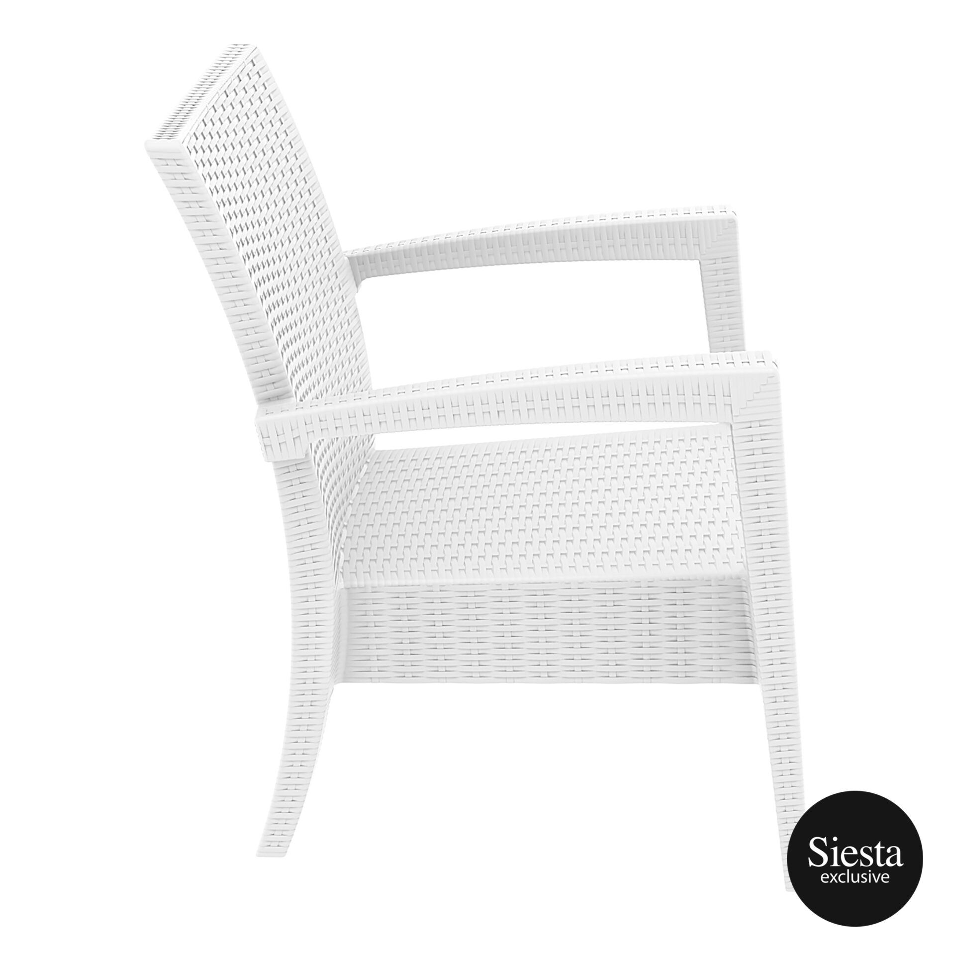 Resin Rattan Miami Tequila Lounge armchair white side