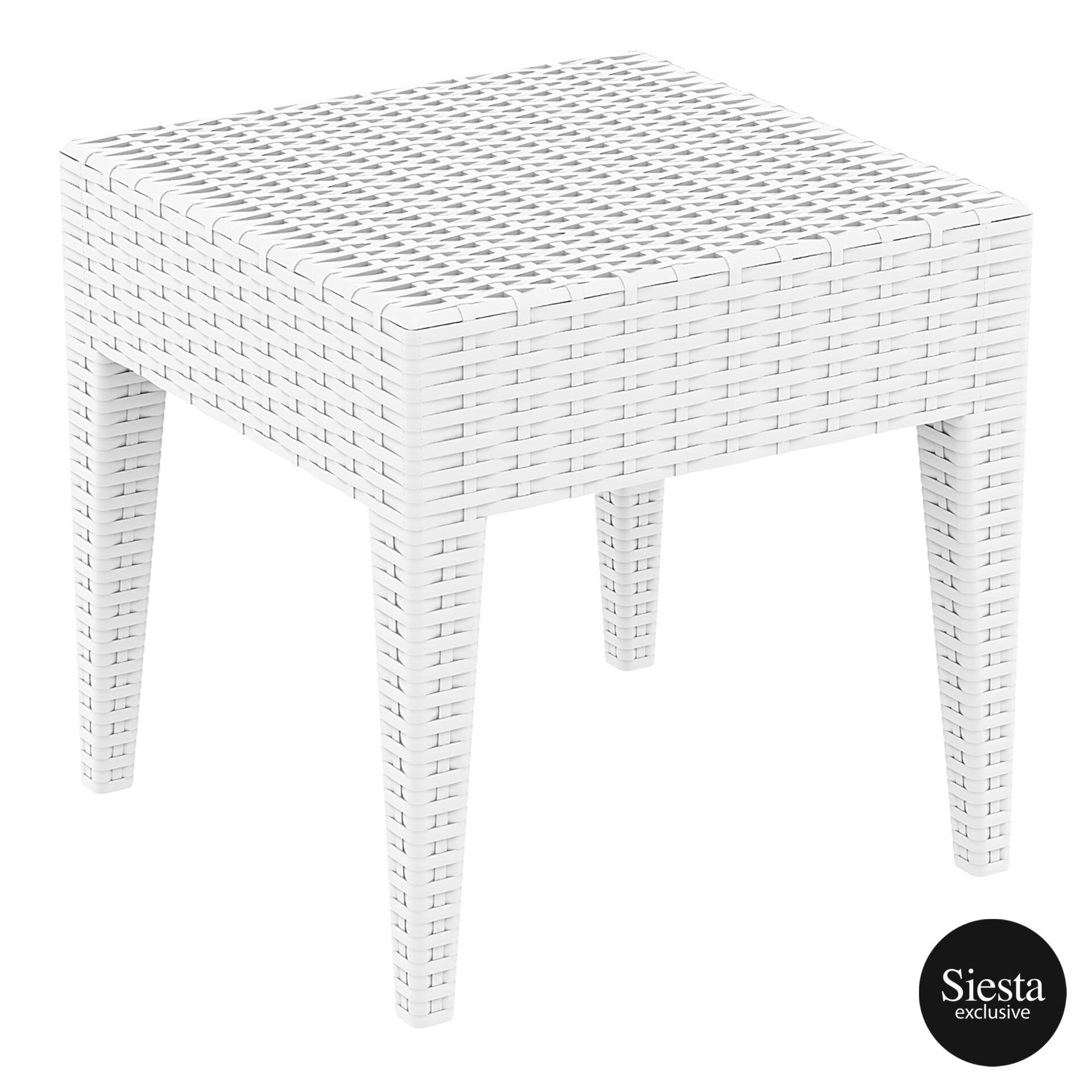 Resin Rattan Miami Tequila Lounge side table white front side