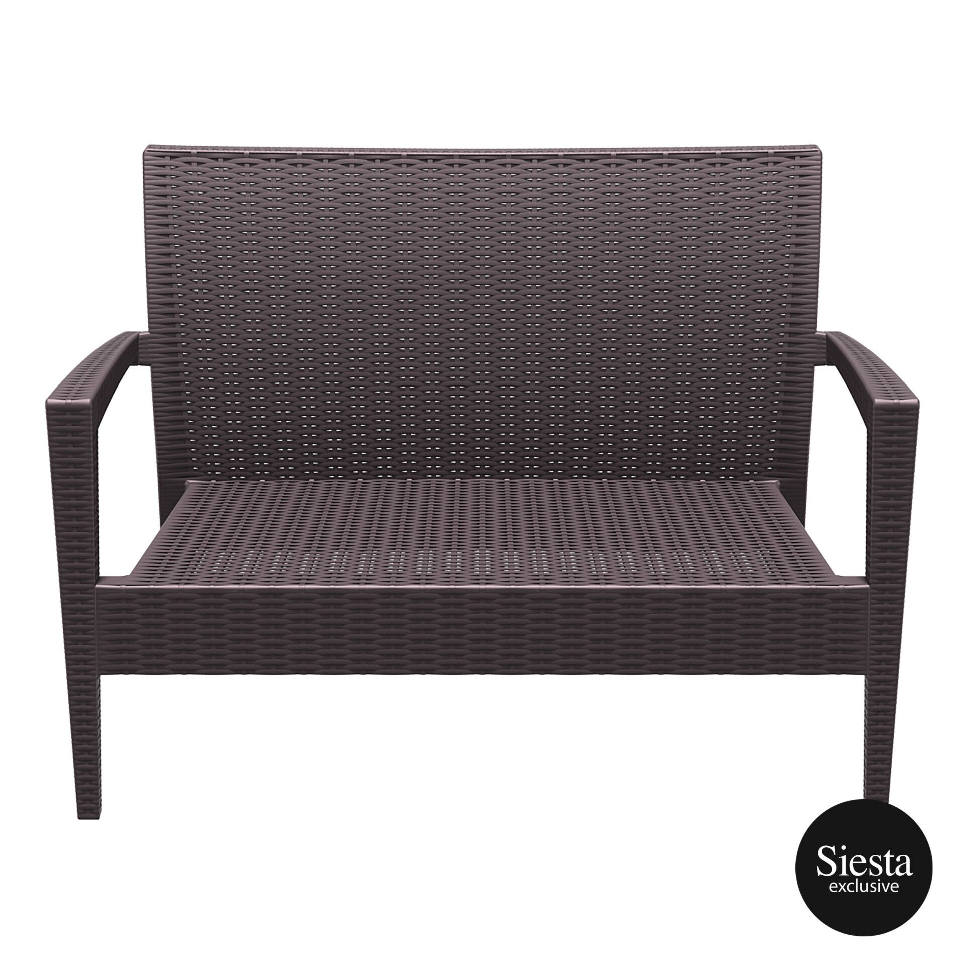 Resin Rattan Miami Tequila Lounge sofa brown front