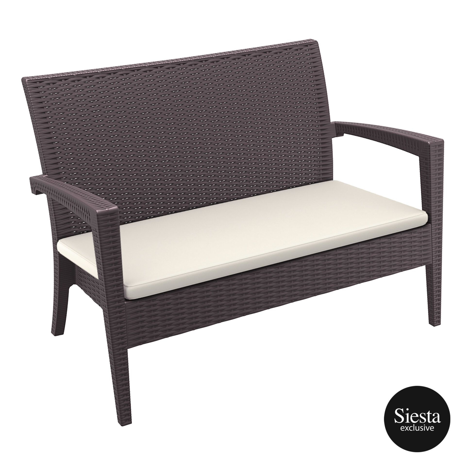 Resin Rattan Miami Tequila Lounge sofa cushion brown front side
