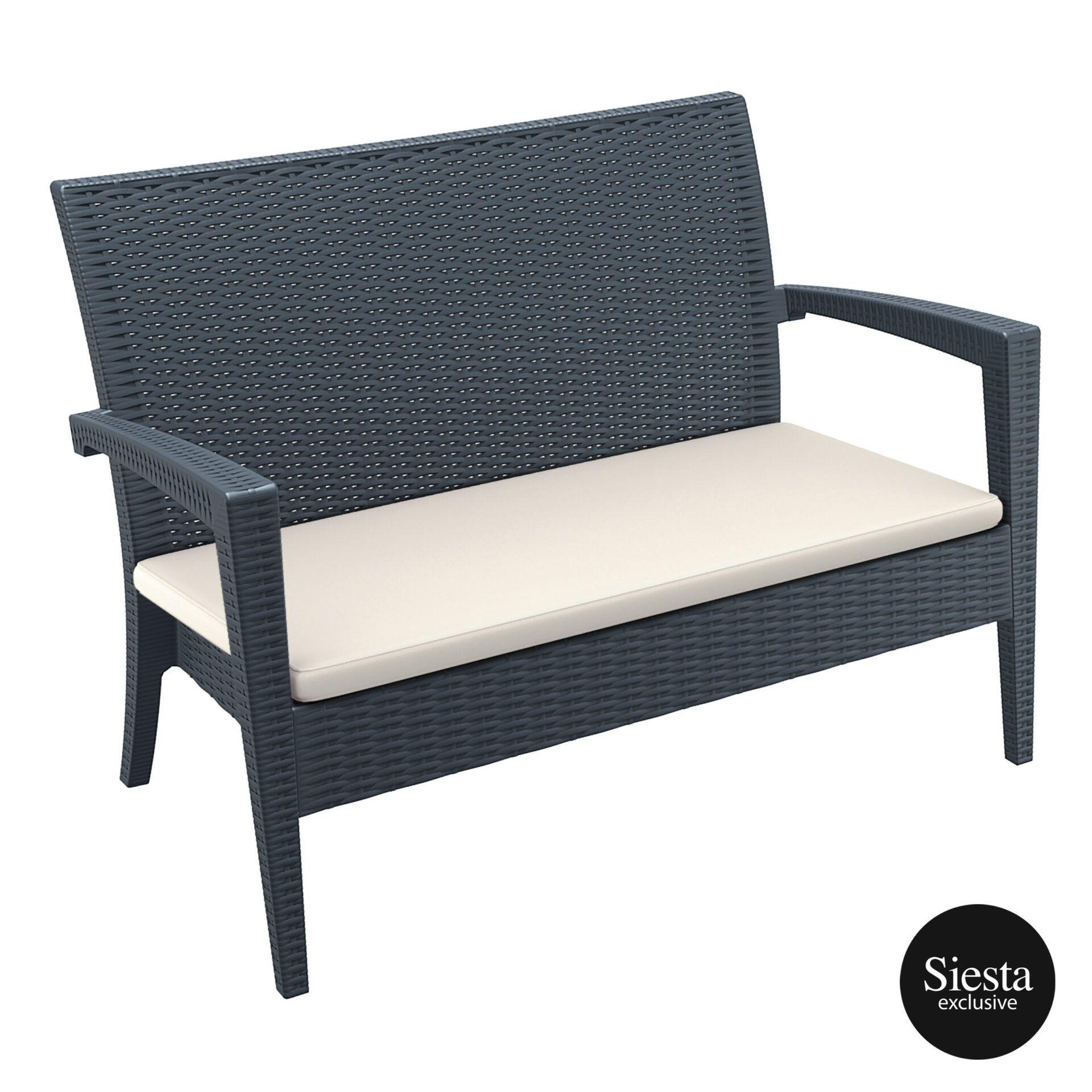 Resin Rattan Miami Tequila Lounge sofa cushion darkgrey front side