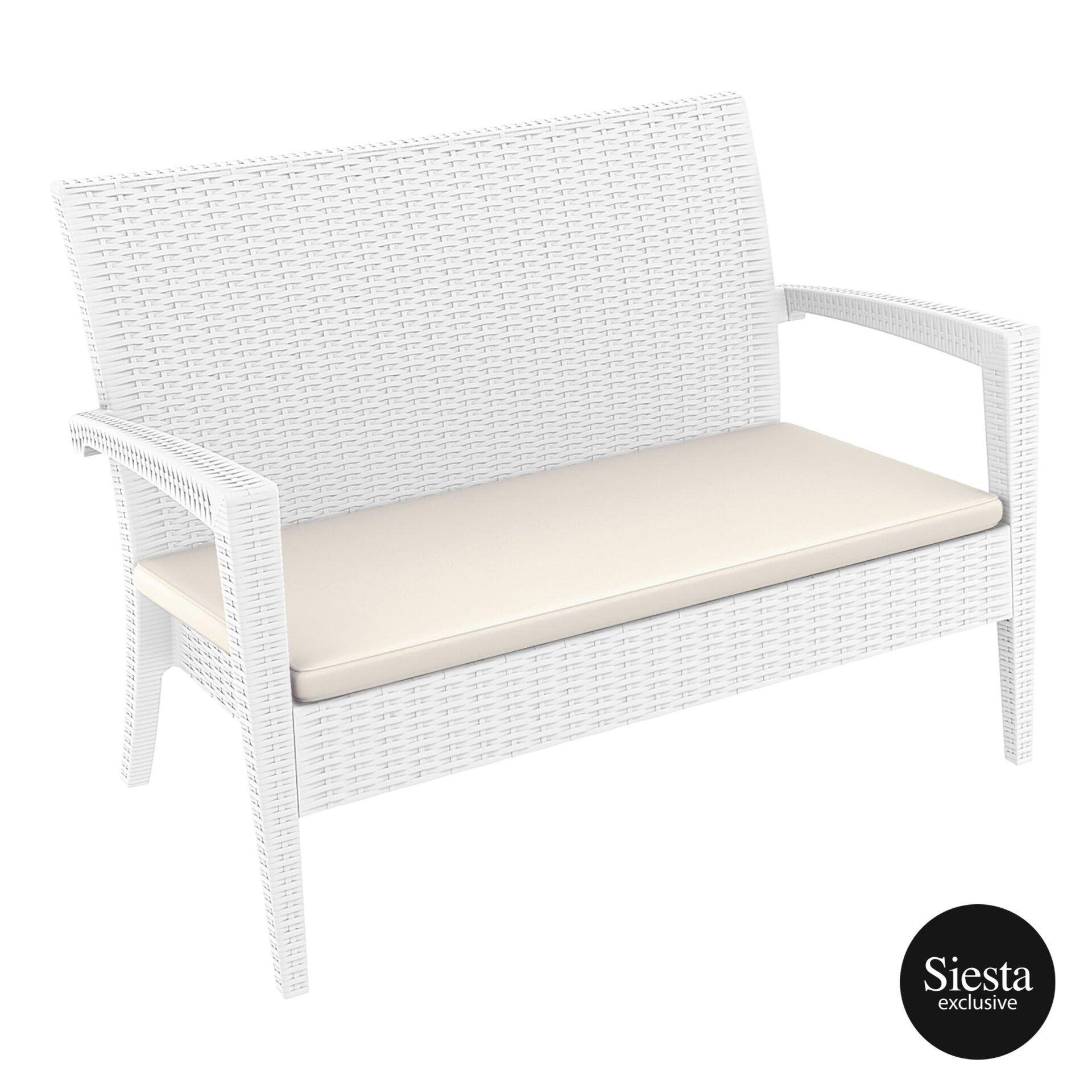 Resin Rattan Miami Tequila Lounge sofa cushion white front side