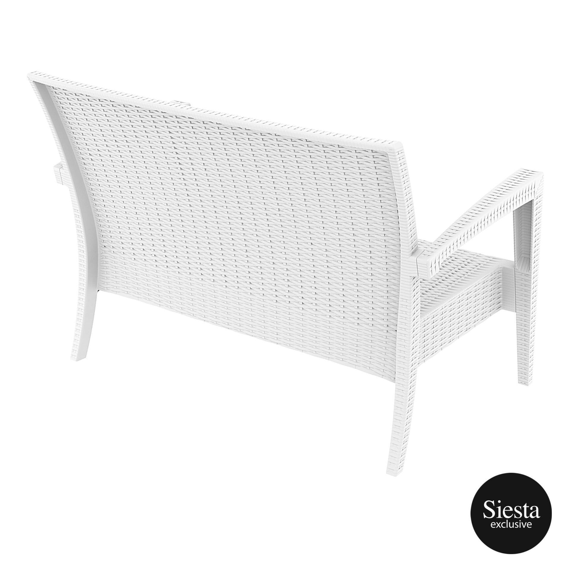 Resin Rattan Miami Tequila Lounge sofa white back side