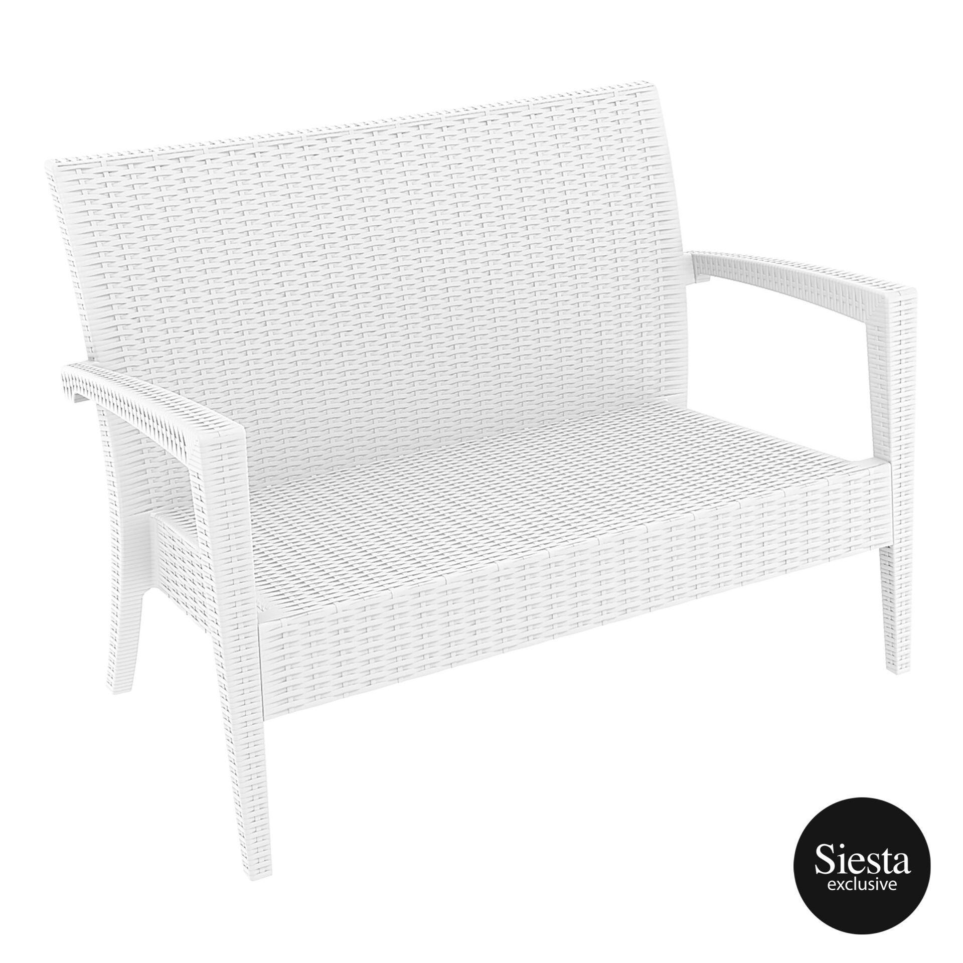 Resin Rattan Miami Tequila Lounge sofa white front side