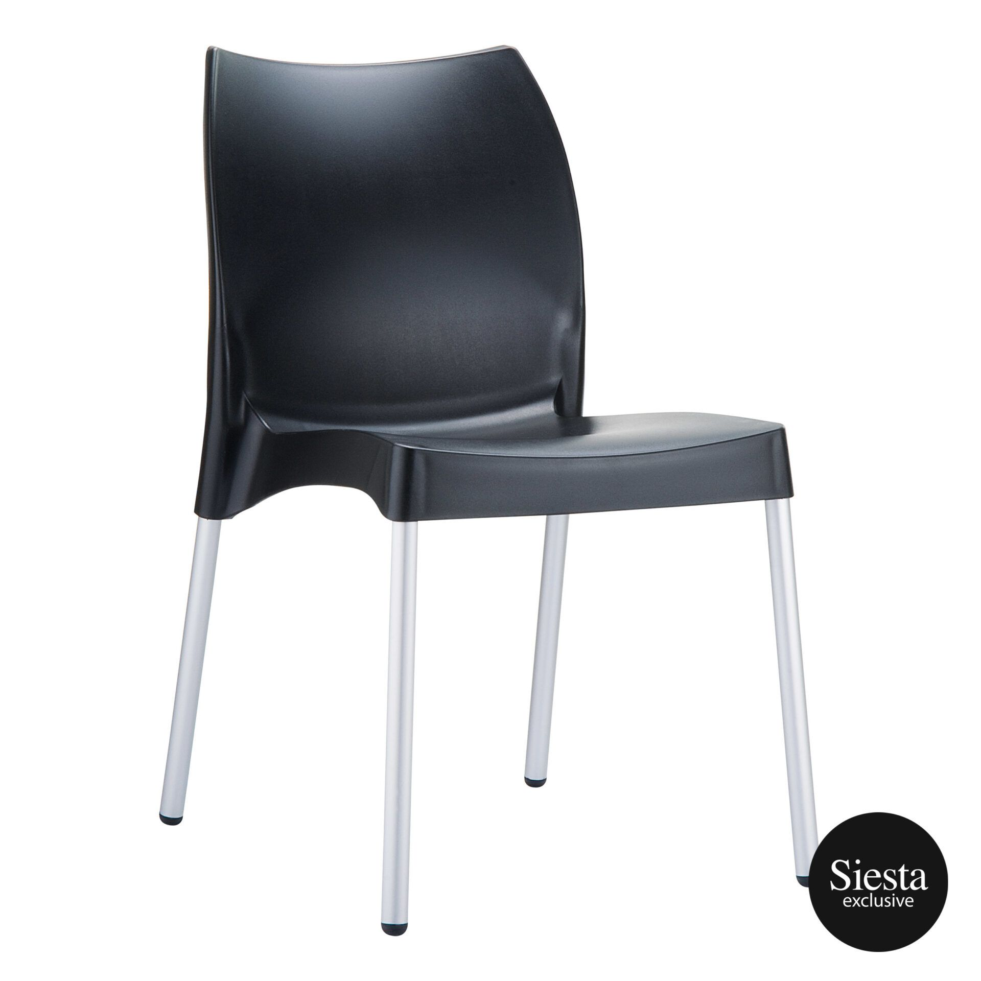 commercial outdoor hospitality seating vita chair black front side 1