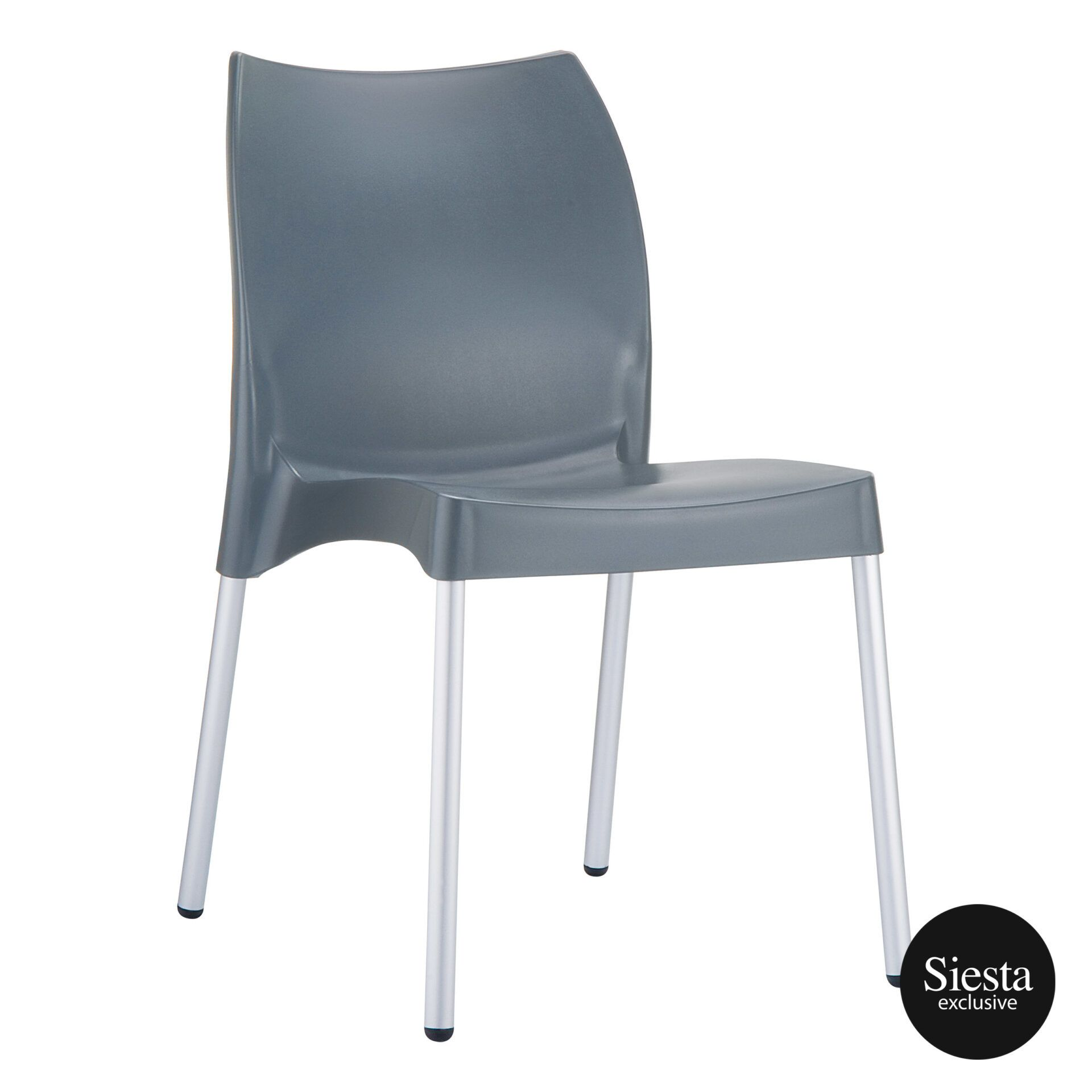 commercial outdoor hospitality seating vita chair darkgrey front side 1