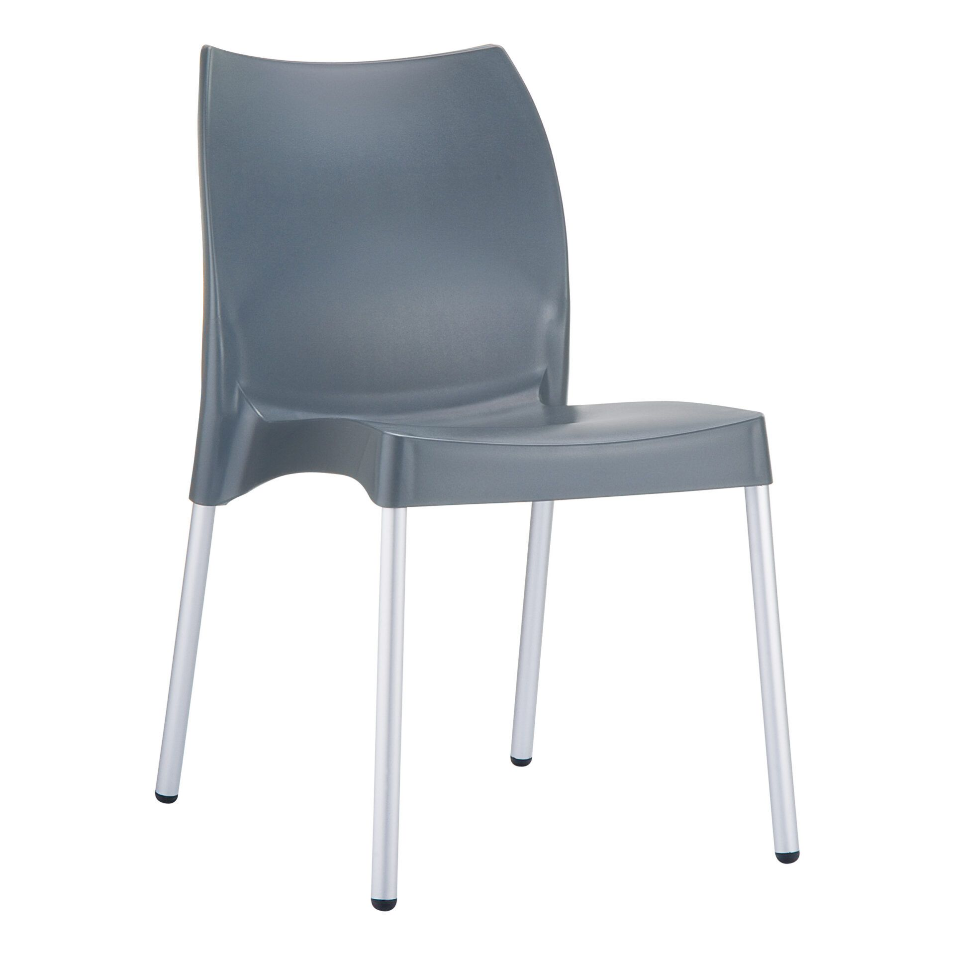 commercial outdoor hospitality seating vita chair darkgrey front side