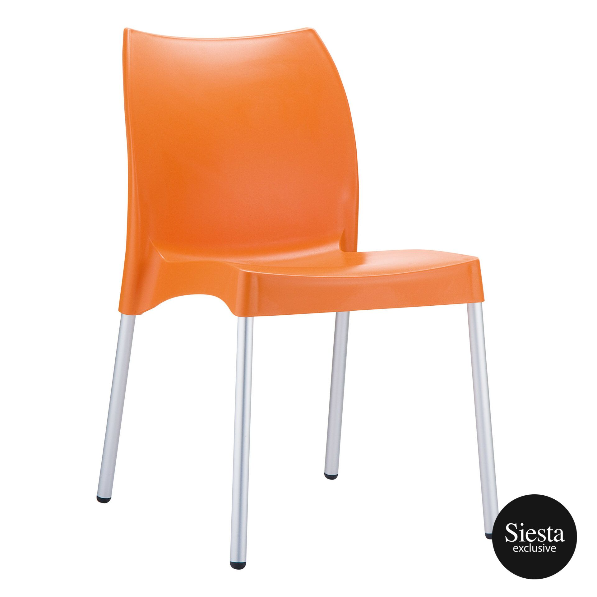 commercial outdoor hospitality seating vita chair orange front side 1