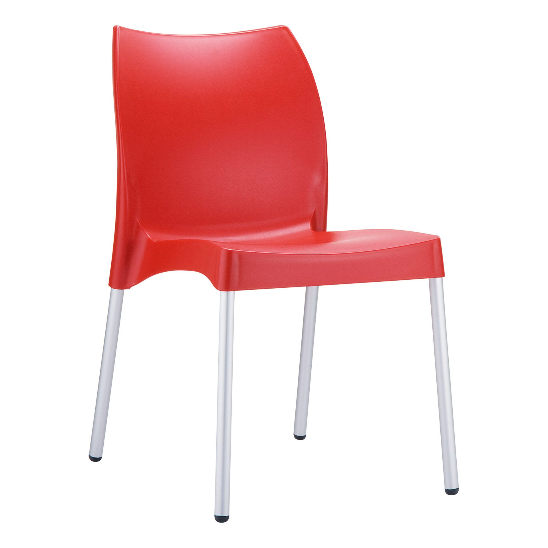 commercial outdoor hospitality seating vita chair red front side
