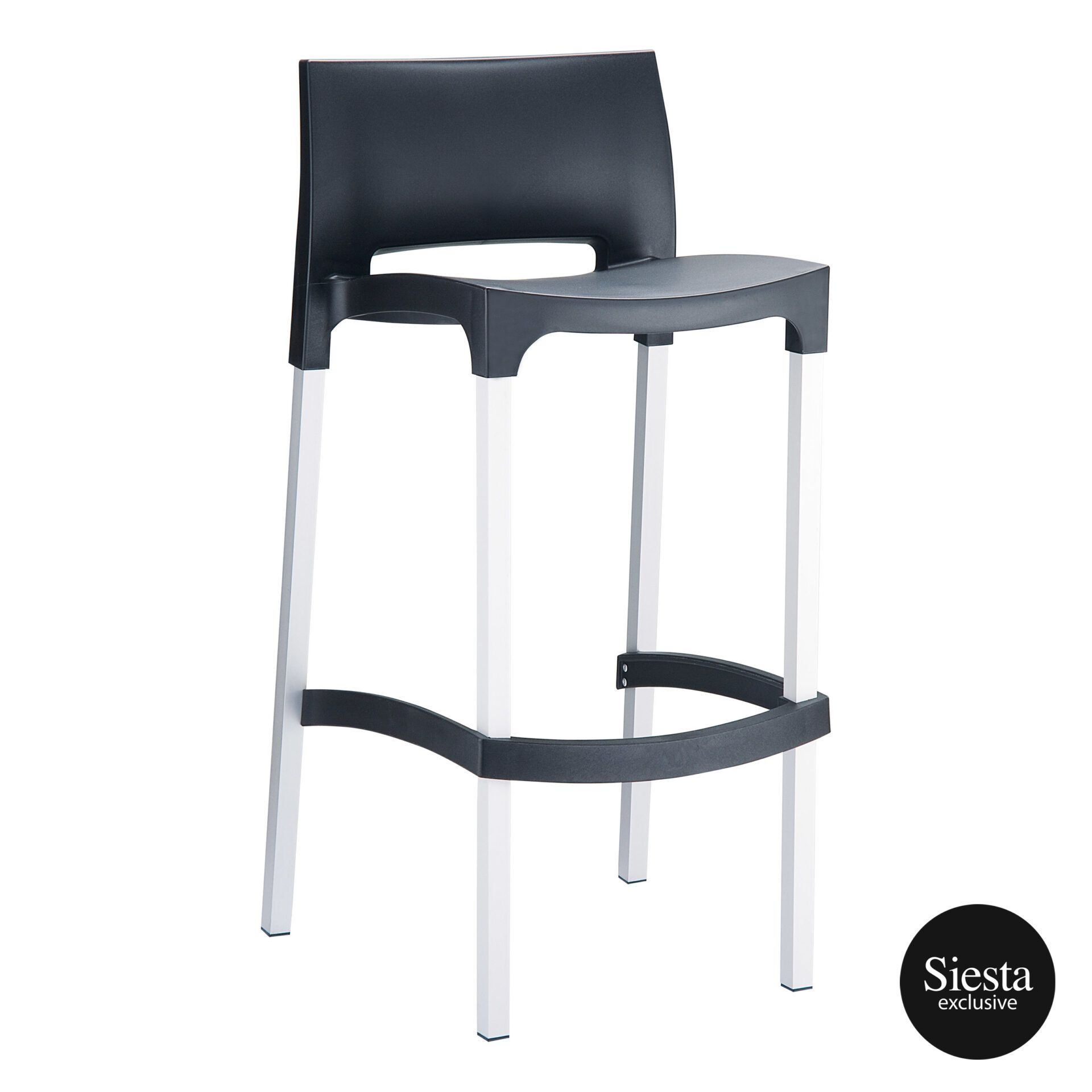 commercial plastic gio barstool black front side 1