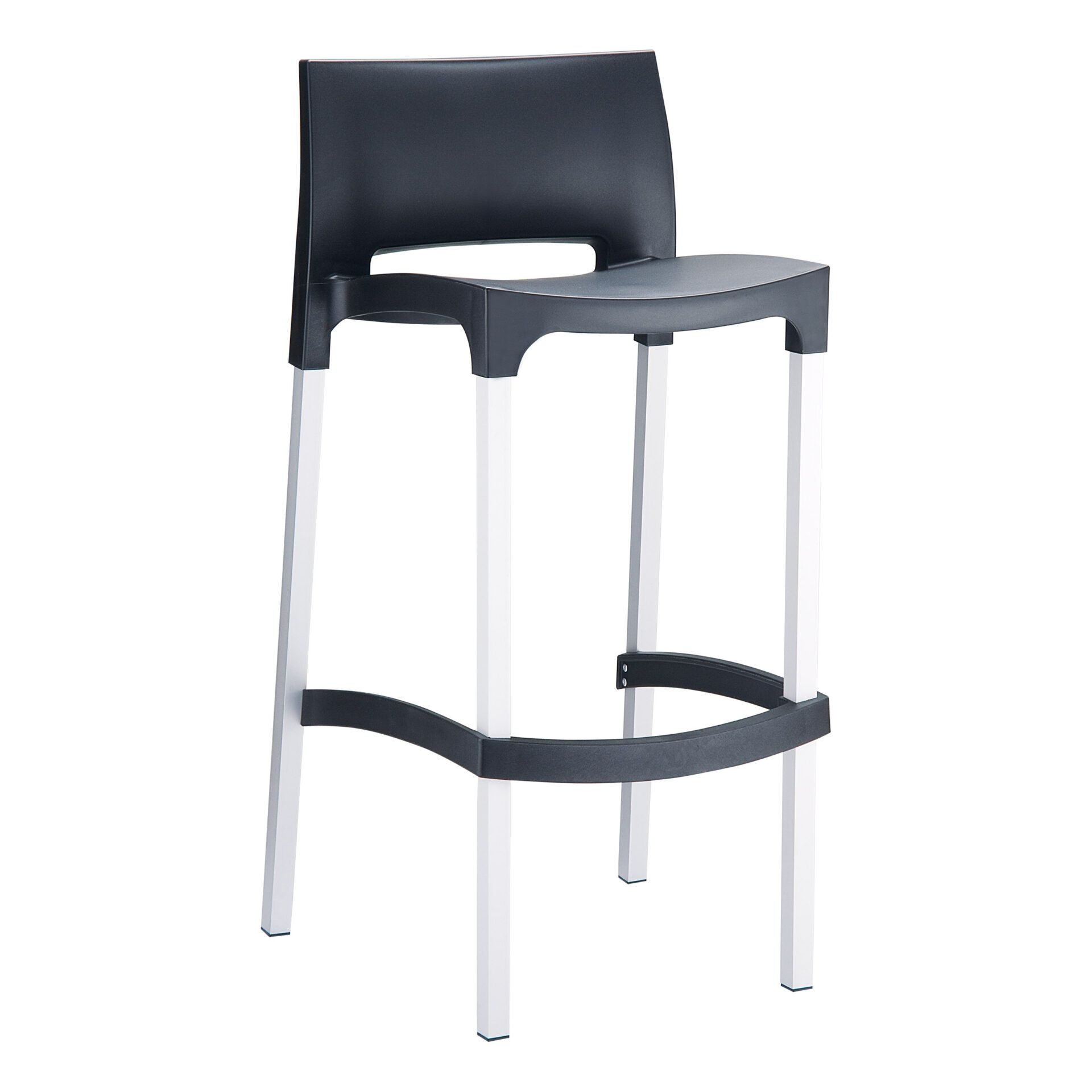 commercial plastic gio barstool black front side
