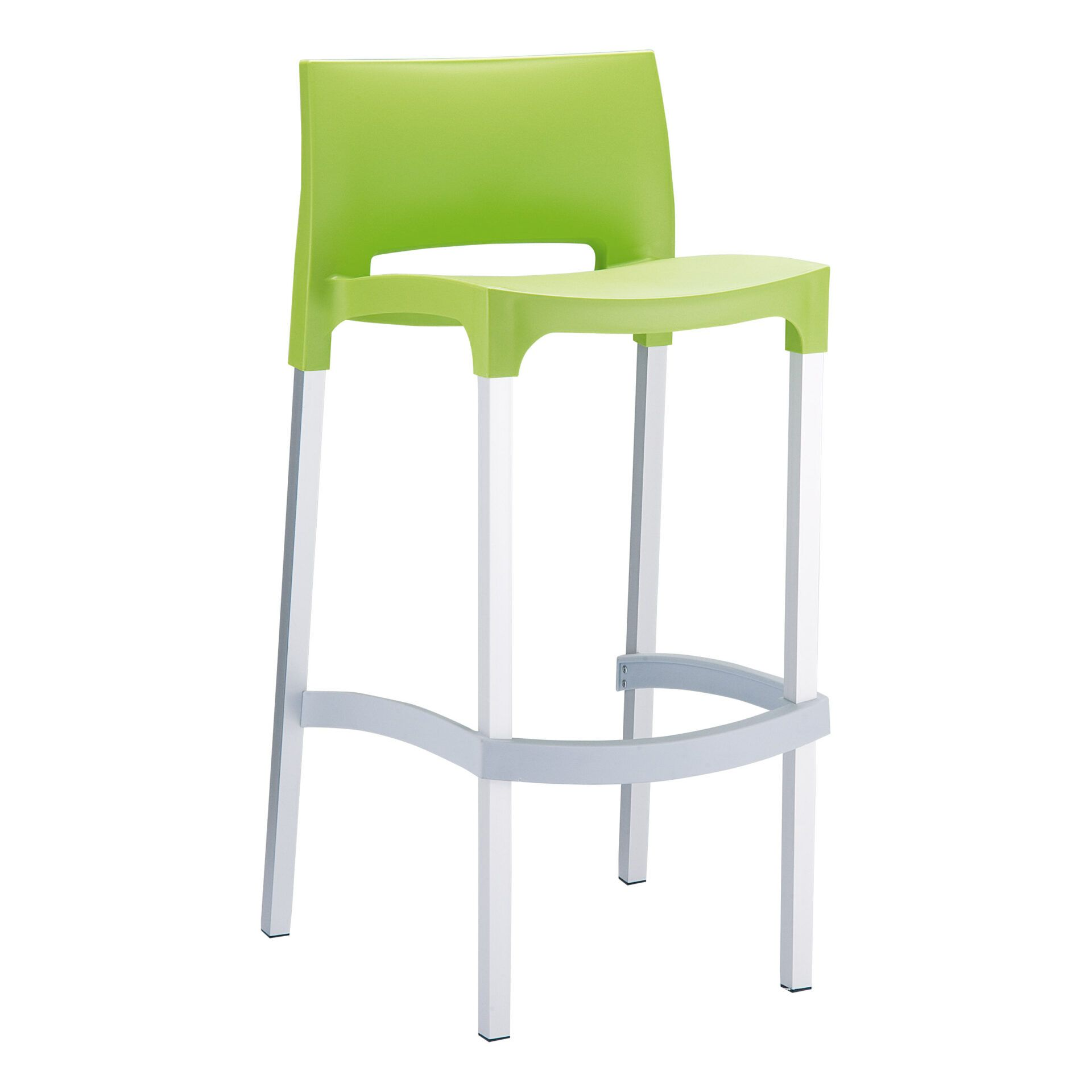 commercial plastic gio barstool green front side