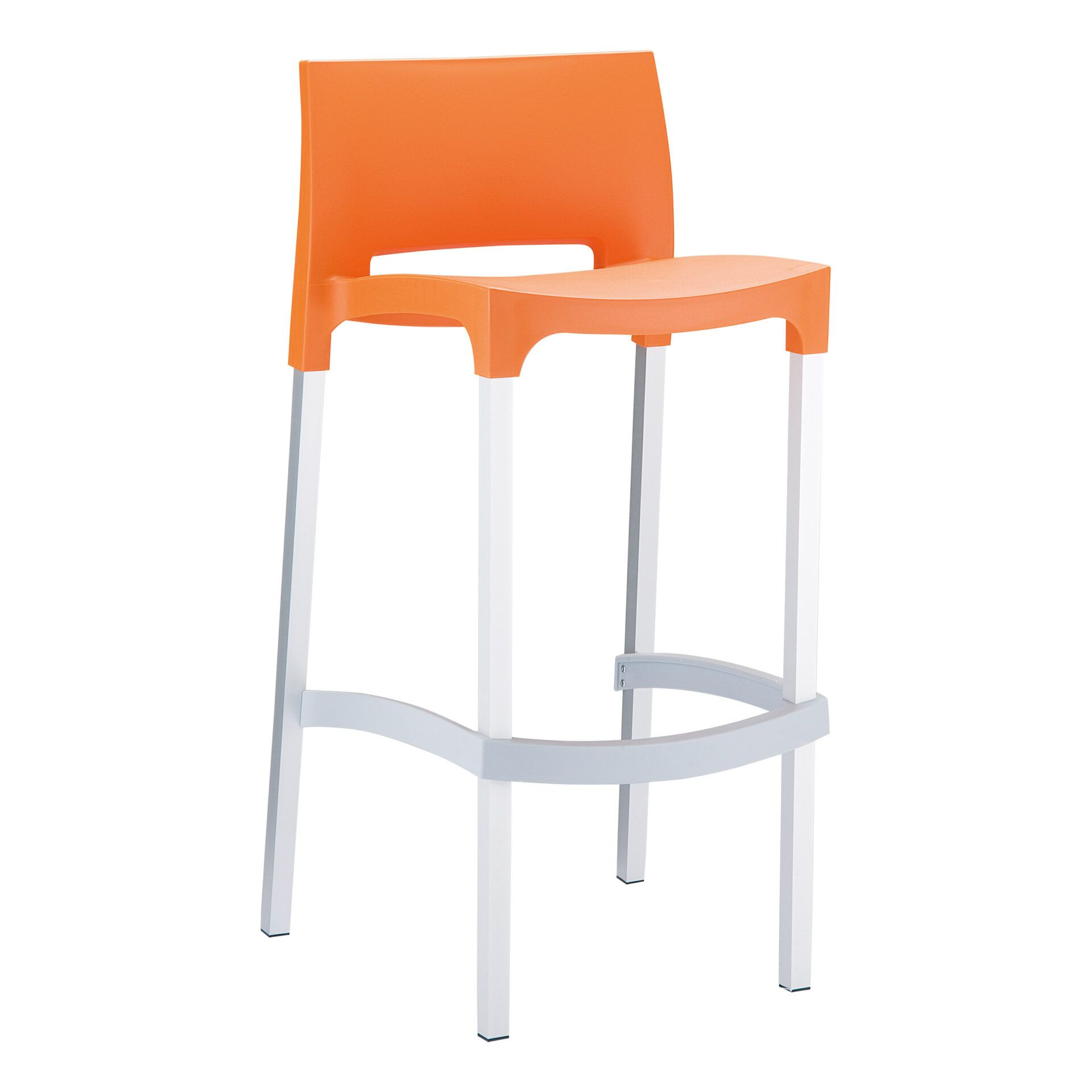 commercial plastic gio barstool orange front side