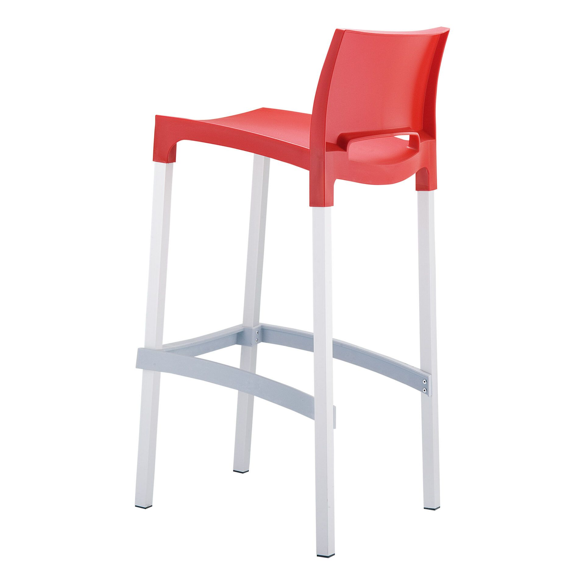 commercial plastic gio barstool red back side