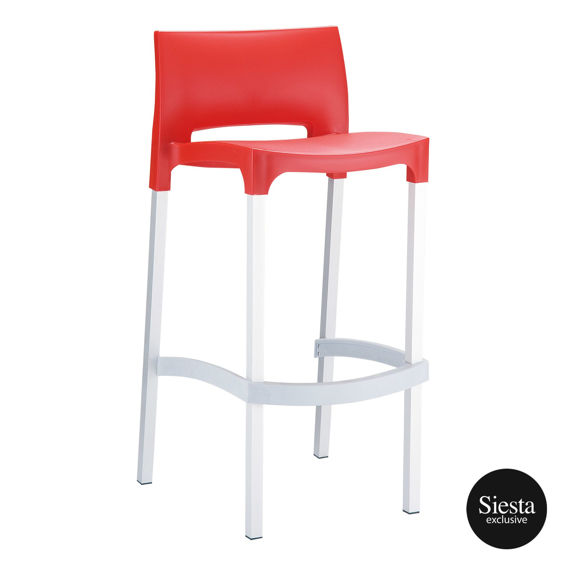 commercial plastic gio barstool red front side 1