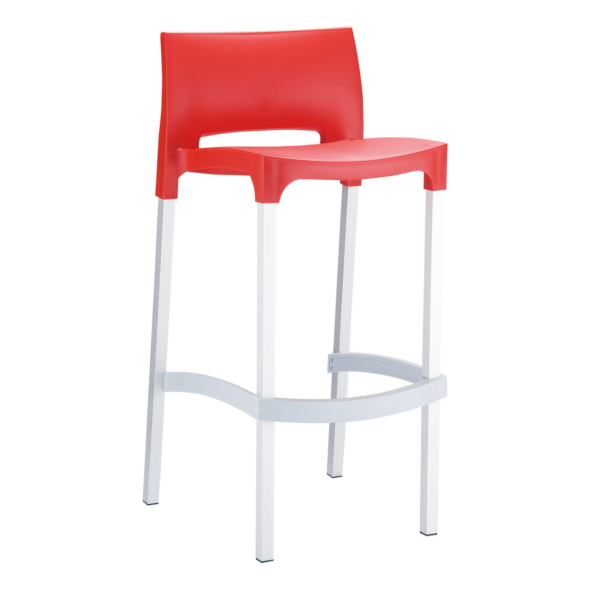 commercial plastic gio barstool red front side