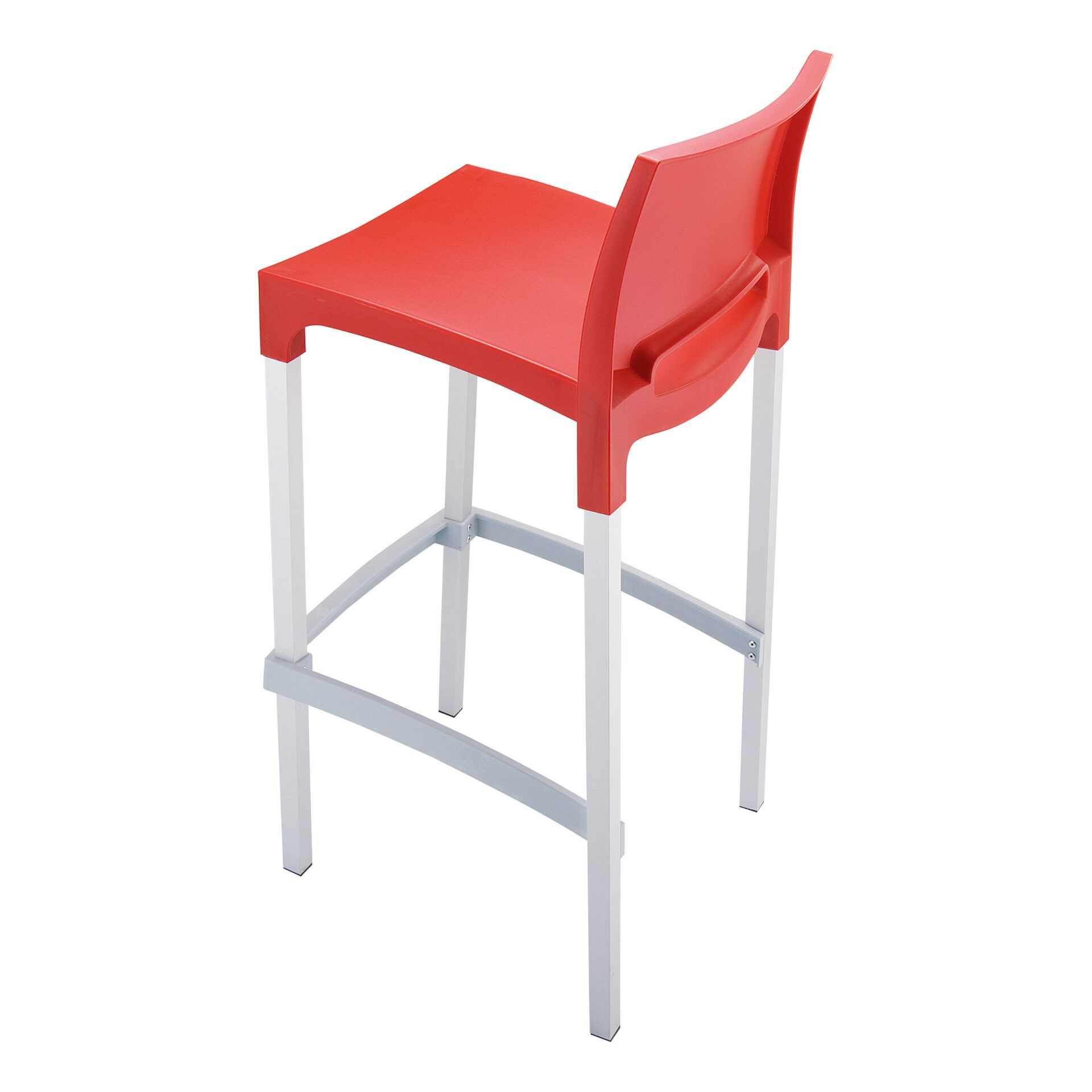commercial plastic gio barstool red top side