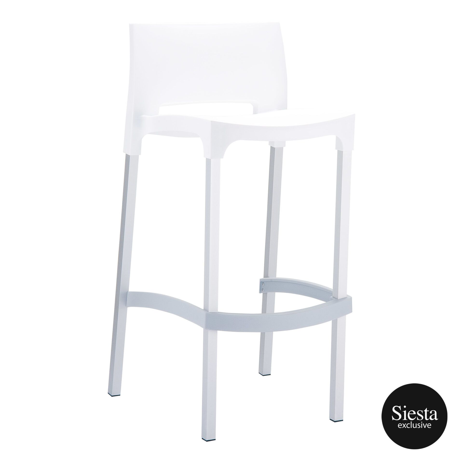 commercial plastic gio barstool white front side 1
