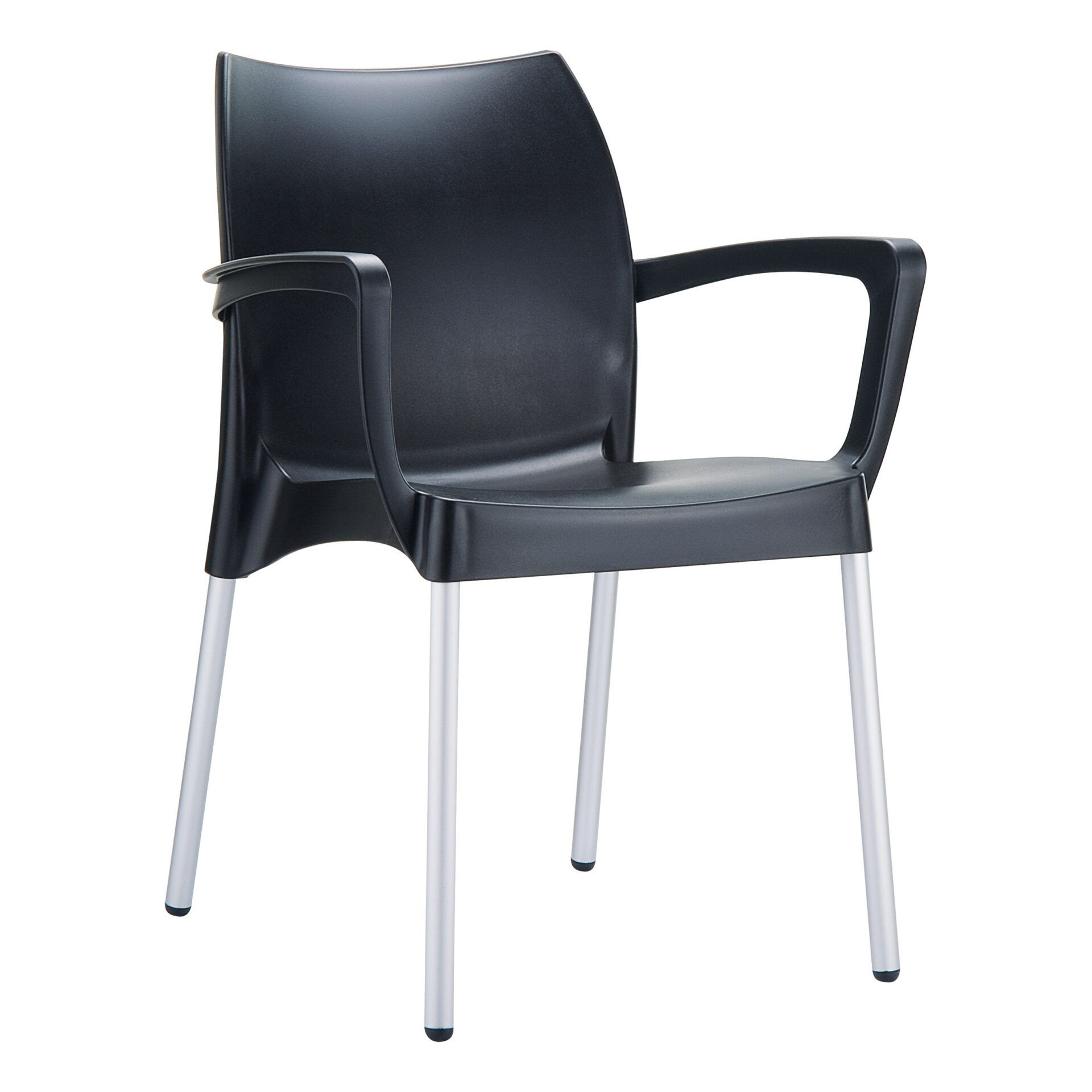 commercial polypropylene dolce chair black front side