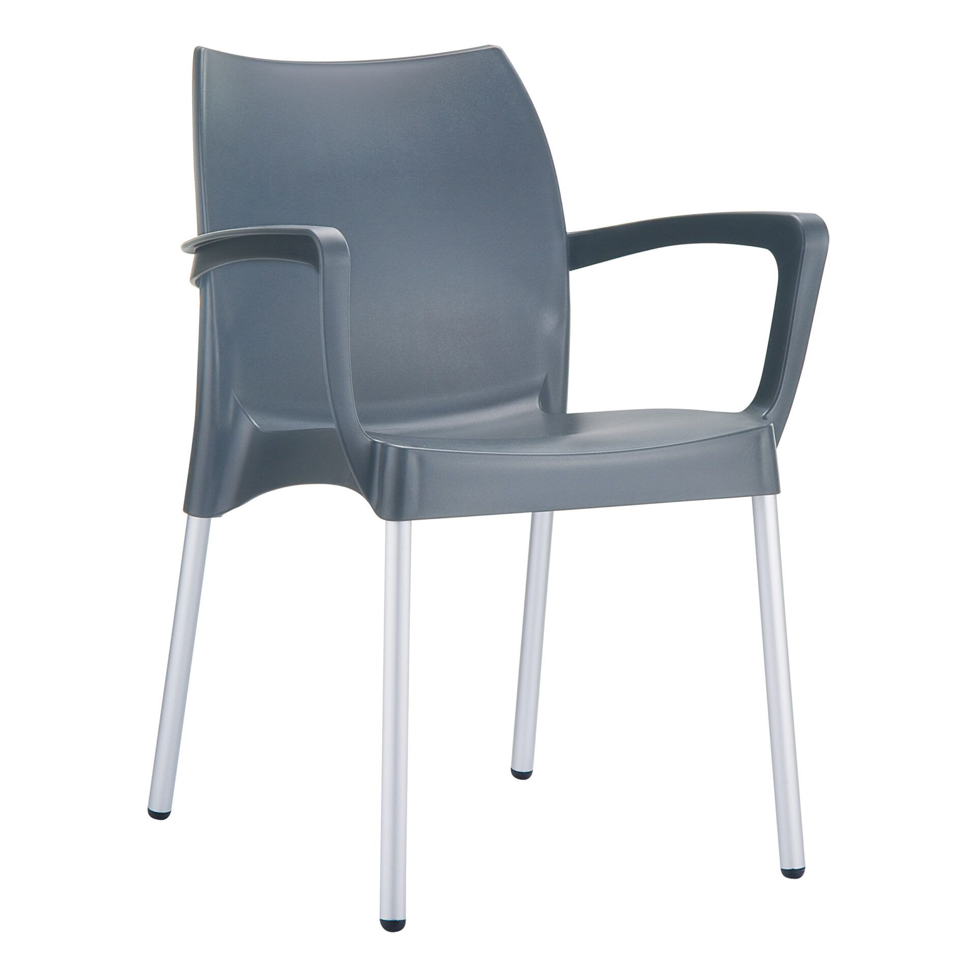 commercial polypropylene dolce chair darkgrey front side