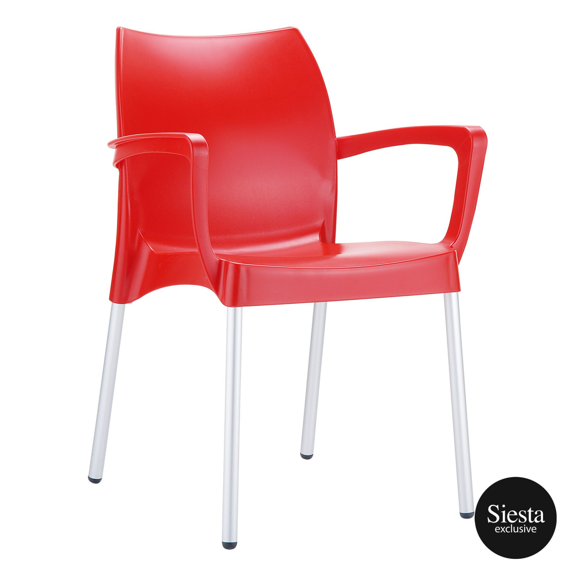 commercial polypropylene dolce chair red front side 1