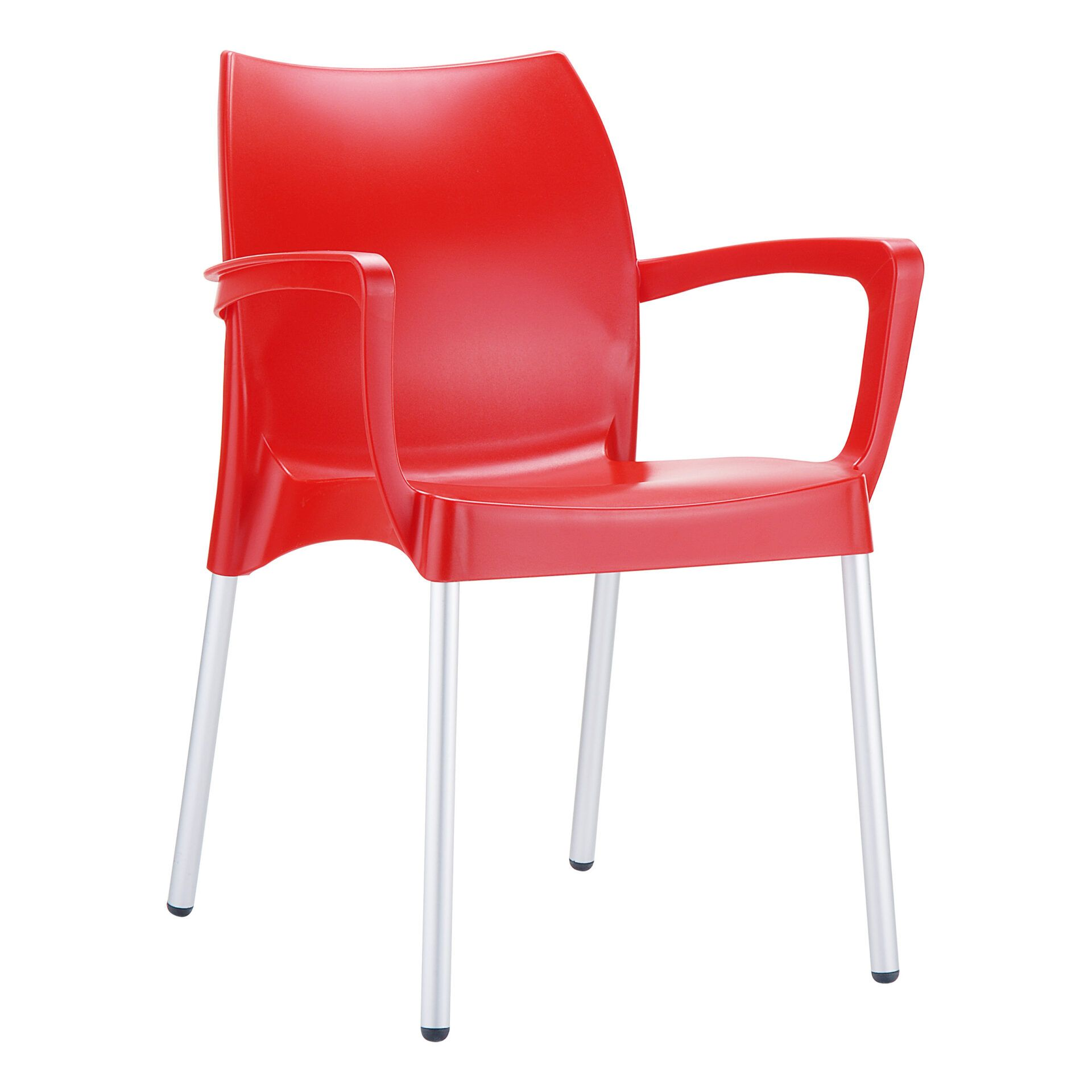 commercial polypropylene dolce chair red front side
