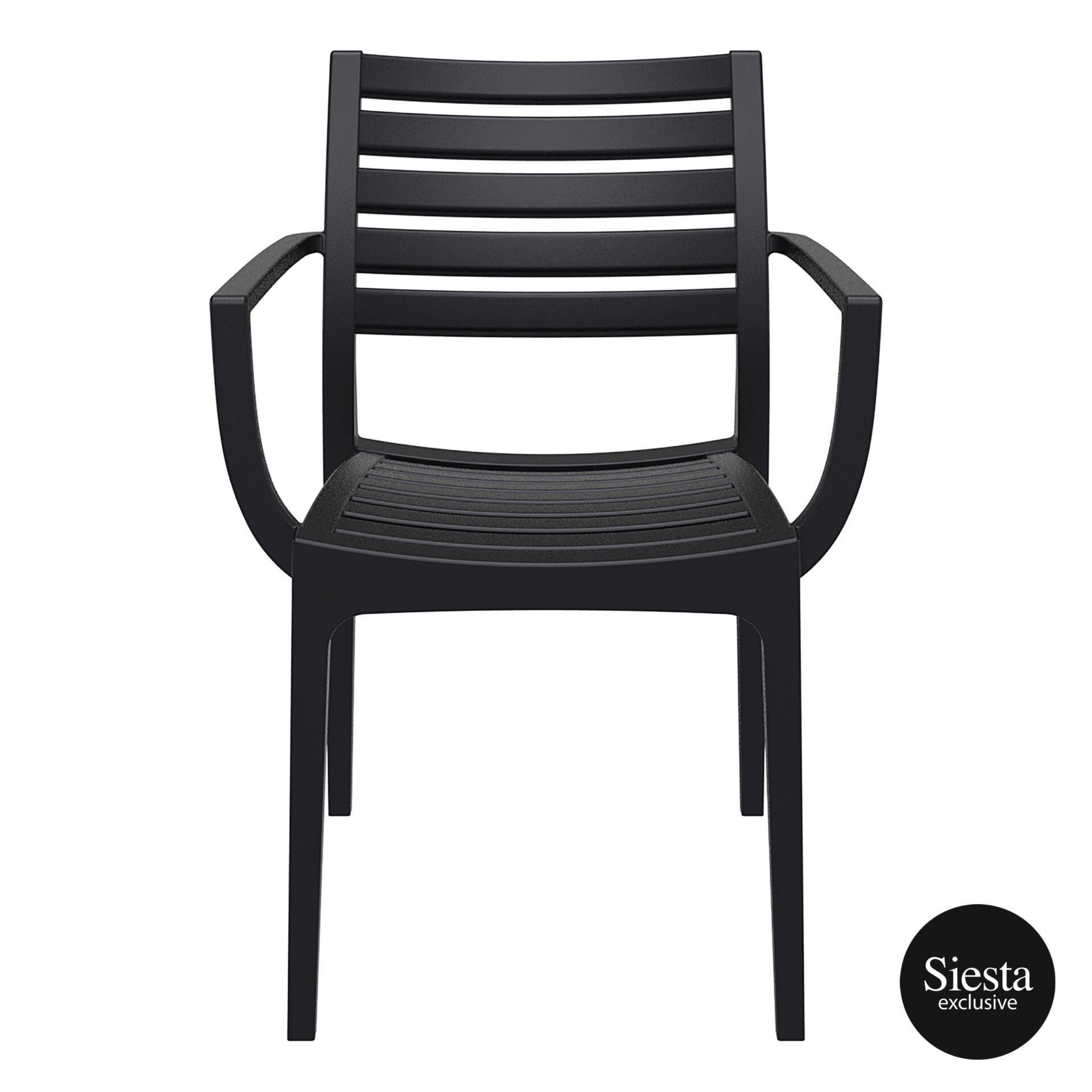 dining artemis armchair black front 1