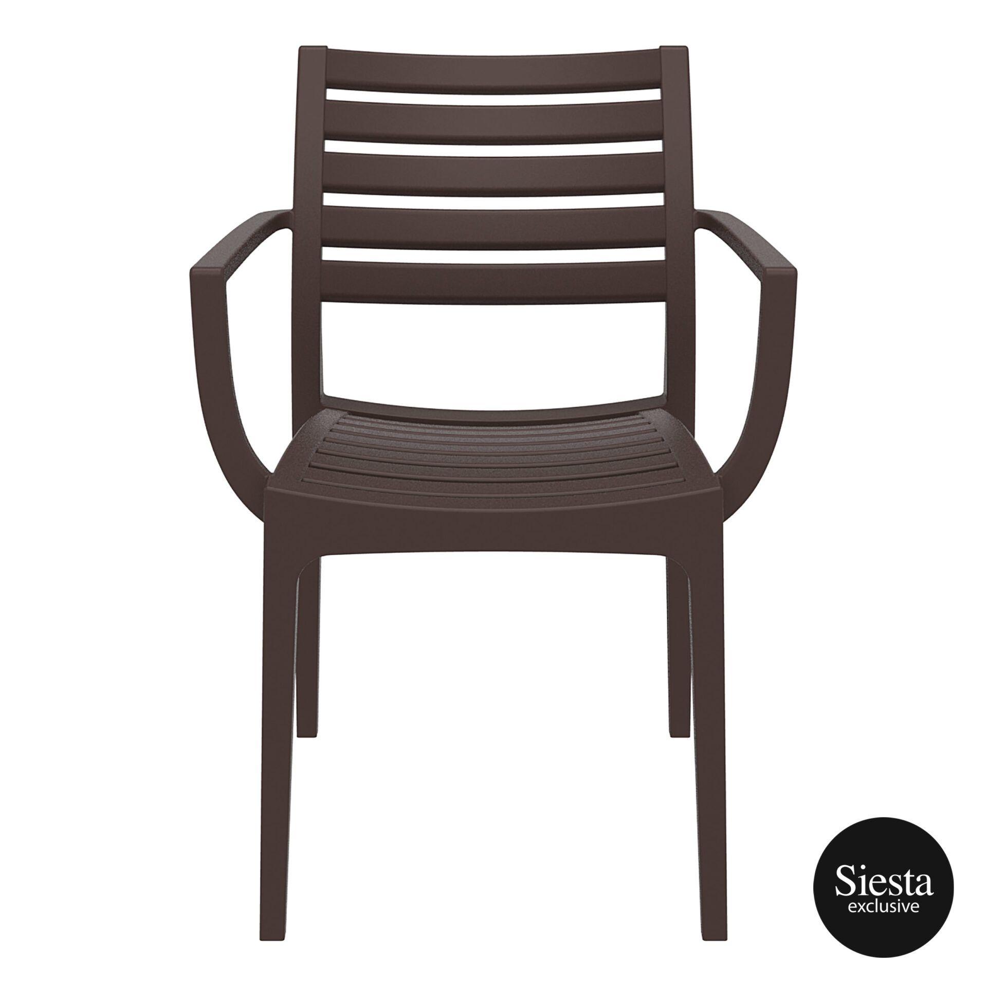 dining artemis armchair brown front 1