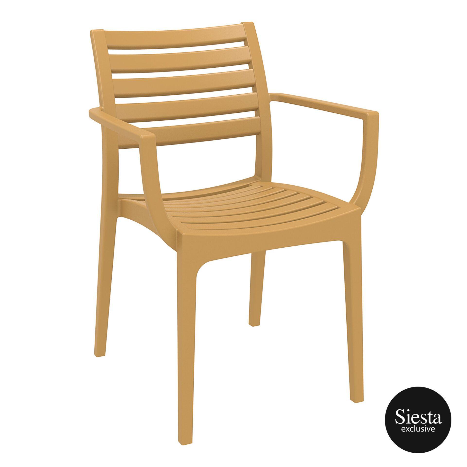 dining artemis armchair teak front side 1