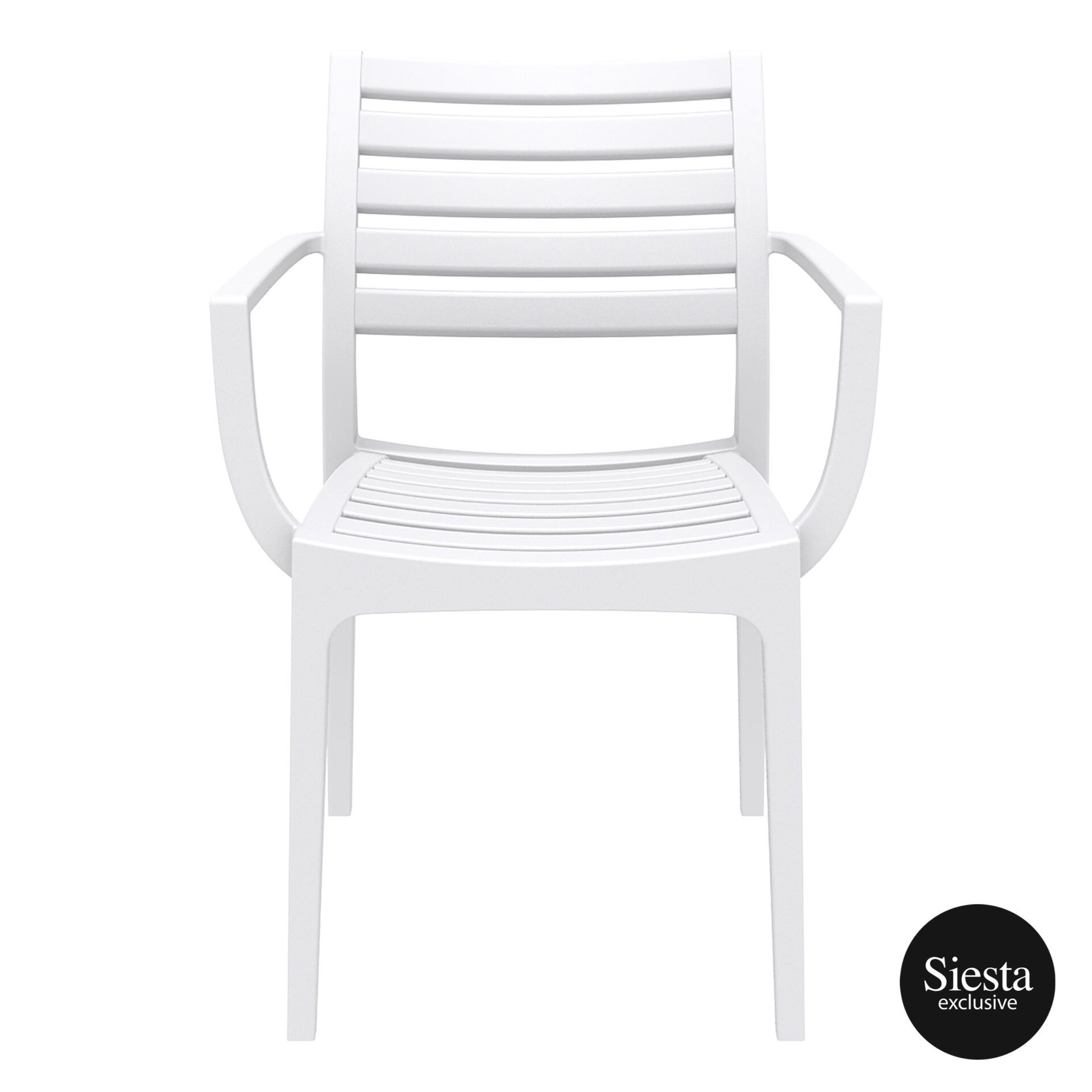 dining artemis armchair white front 1