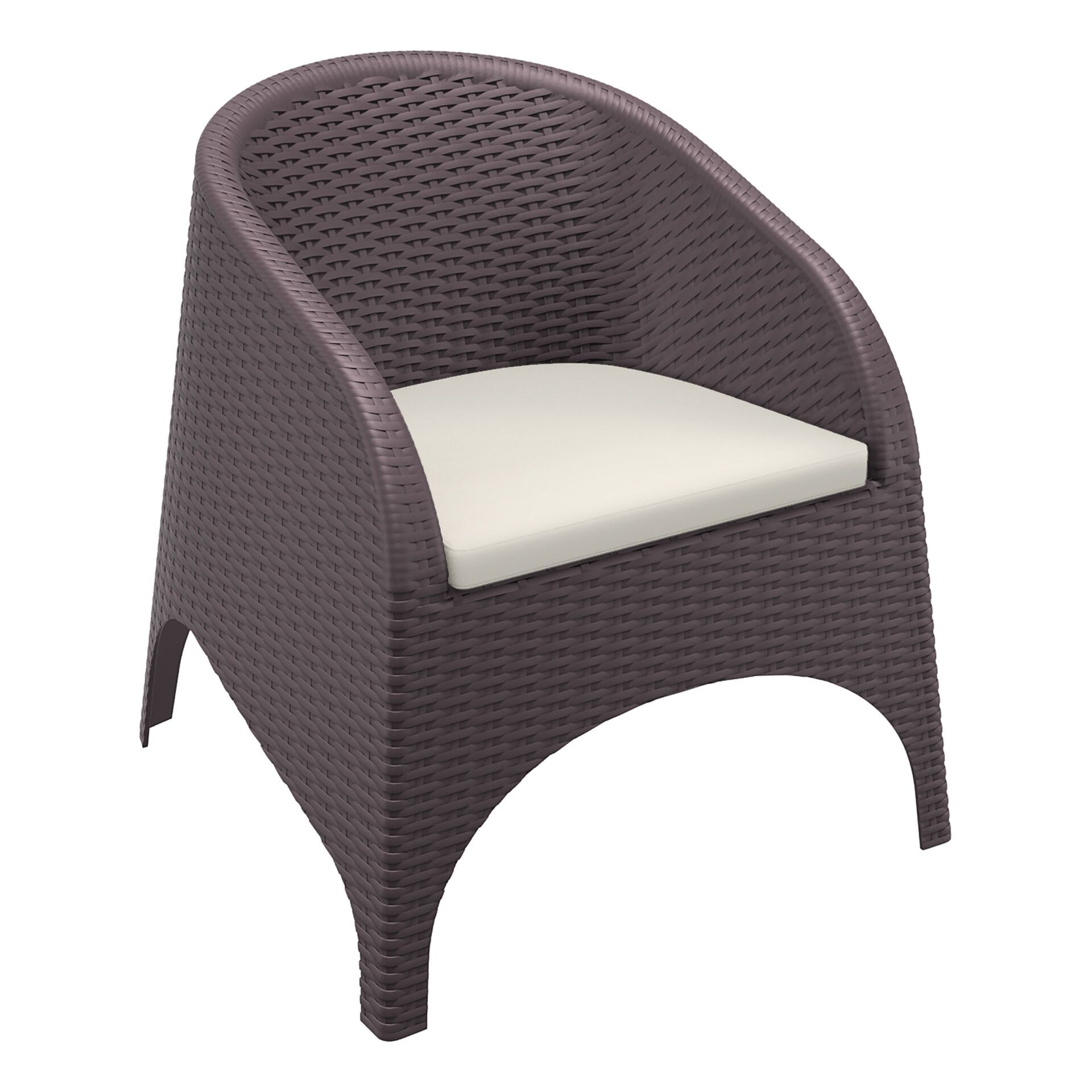outdoor aruba armchair cushion brown front side