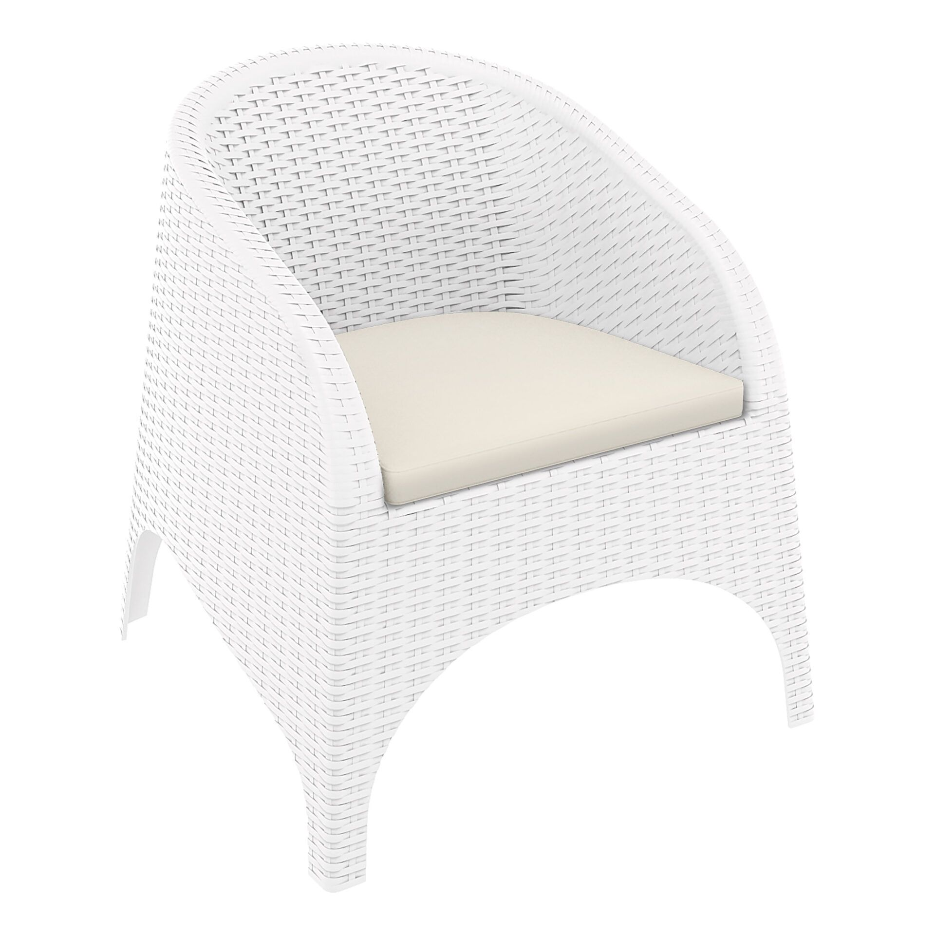 outdoor aruba armchair cushion white front side