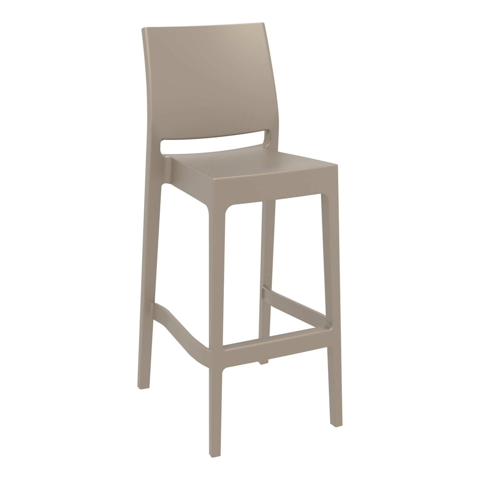 outdoor bar maya barstool 75 taupe front side