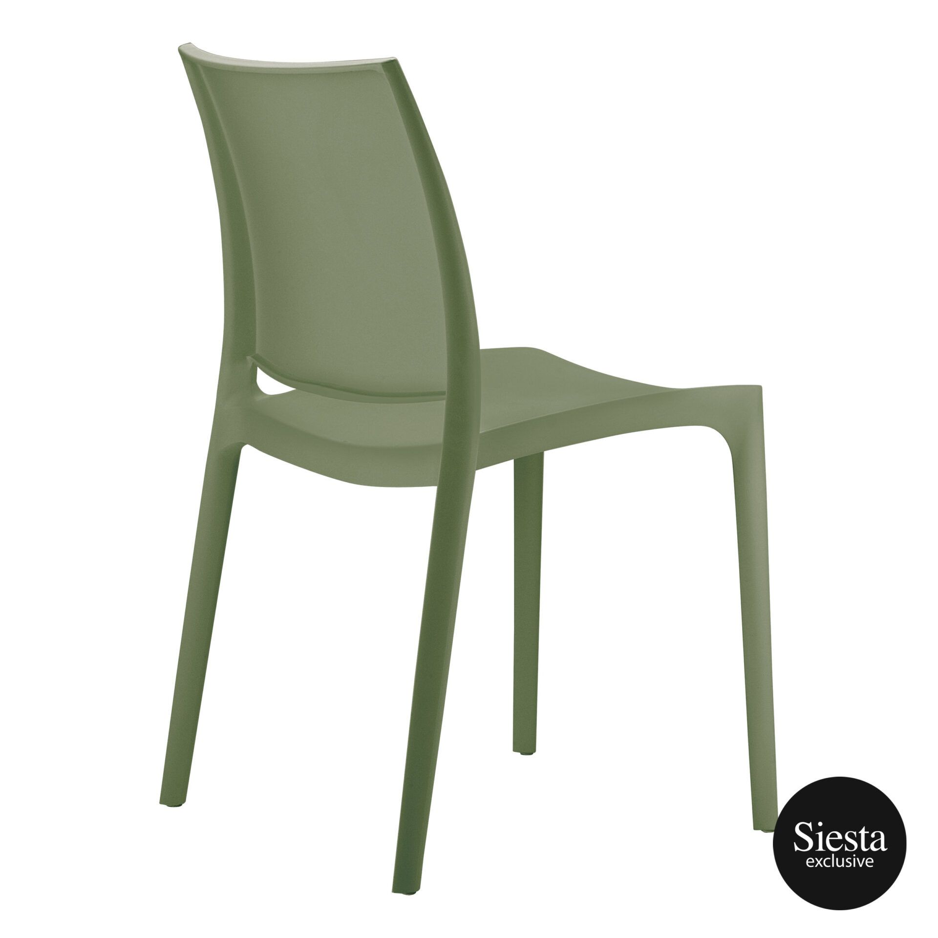 outdoor dining maya chair olive green back side 1
