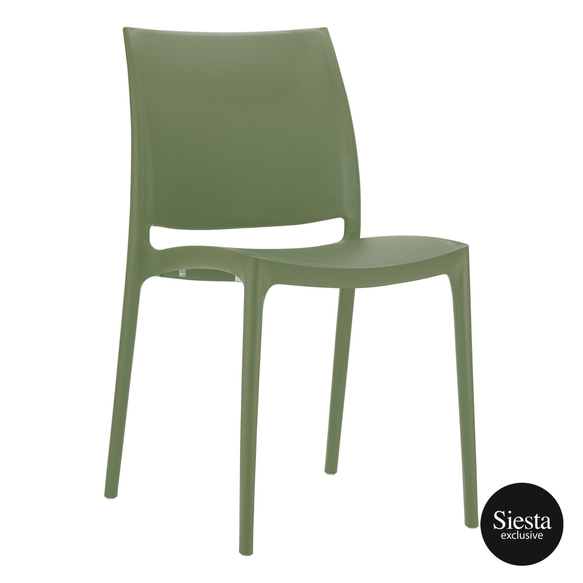 outdoor dining maya chair olive green front side 1