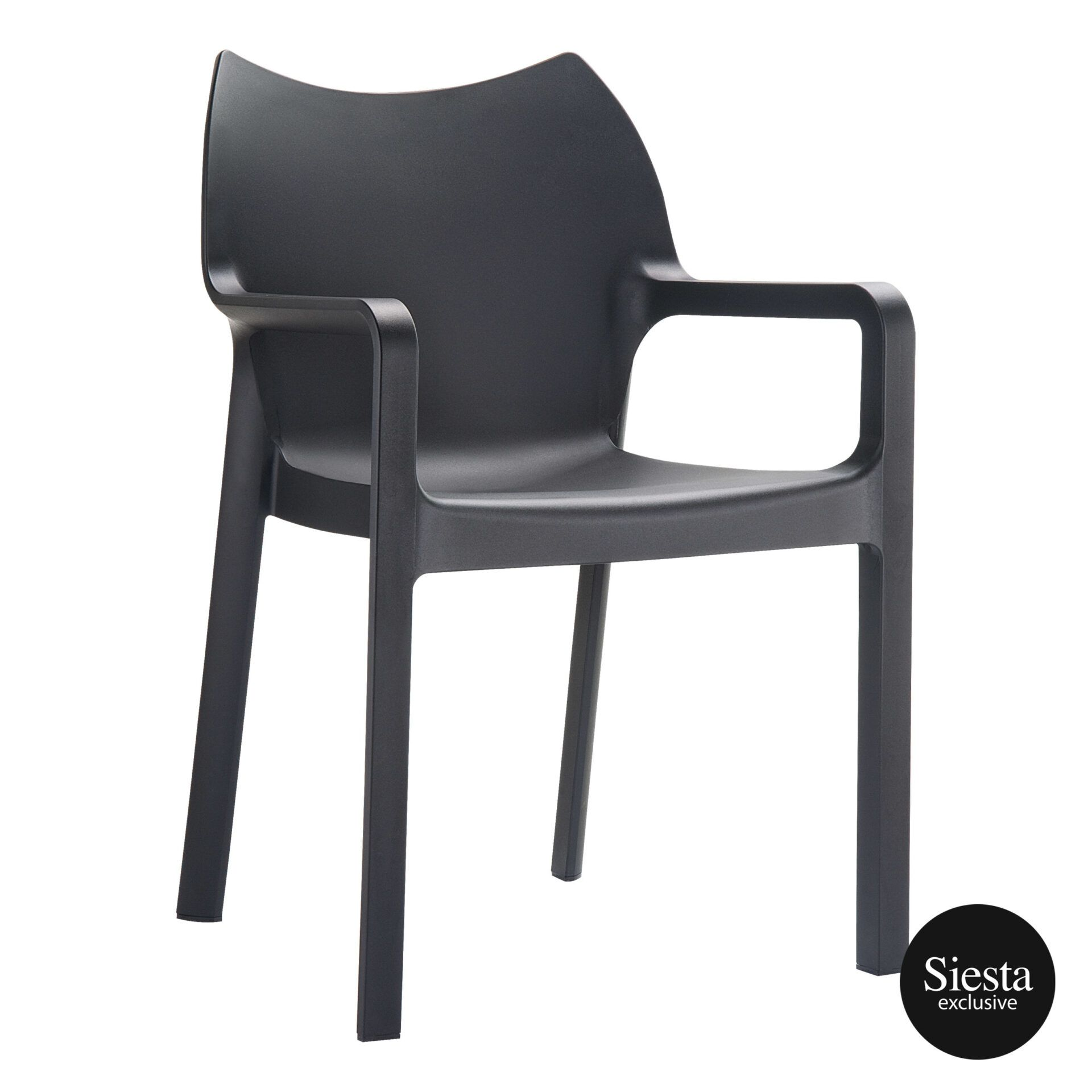 outdoor plastic seating diva chair black front side 1