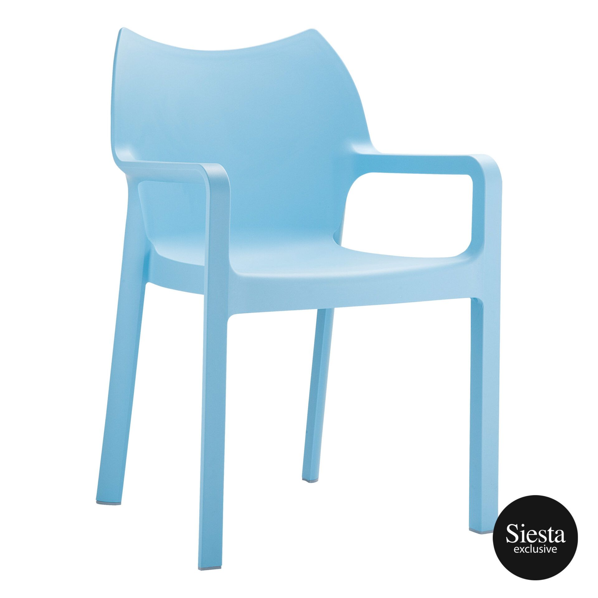 outdoor plastic seating diva chair blue front side 1