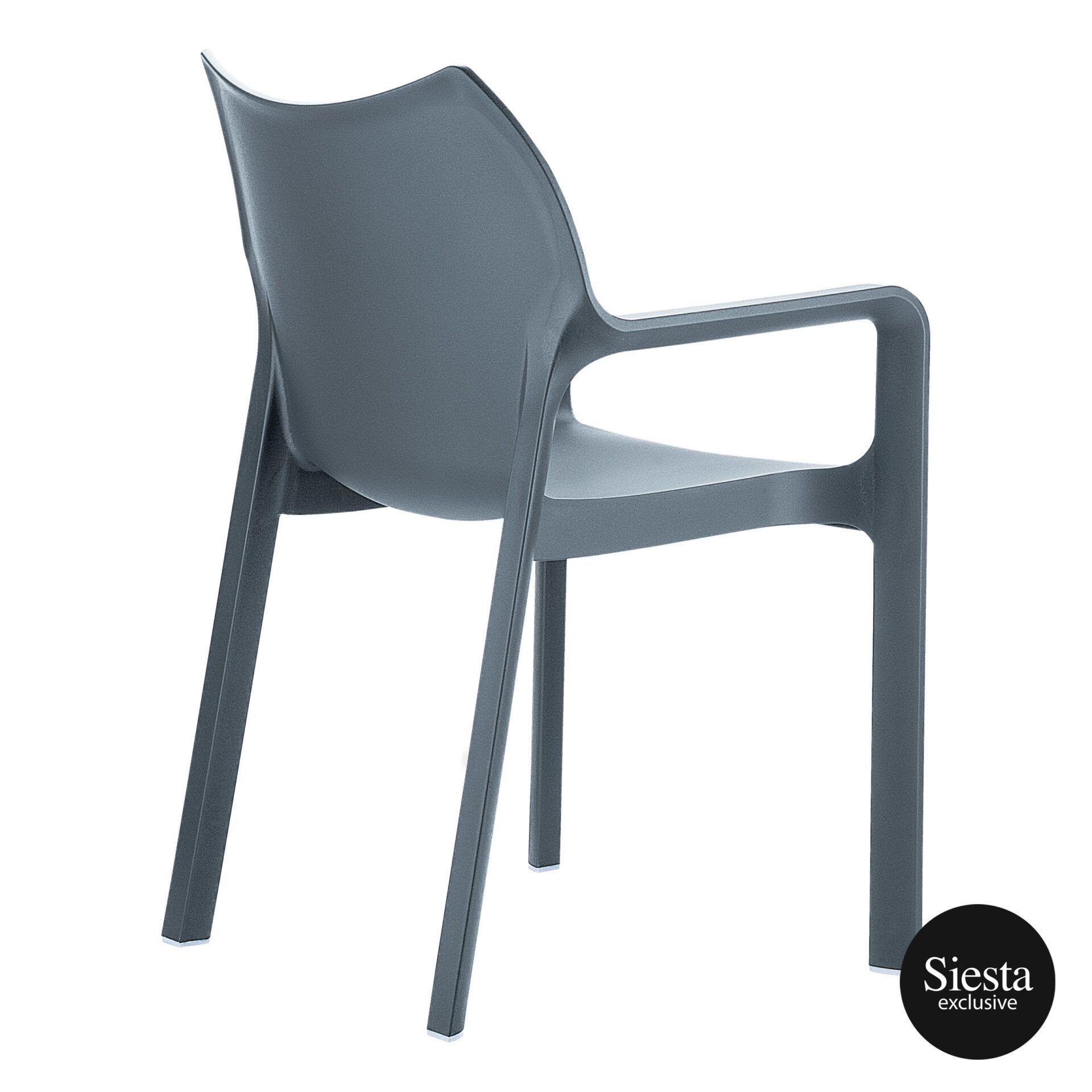outdoor plastic seating diva chair dark grey back side 1