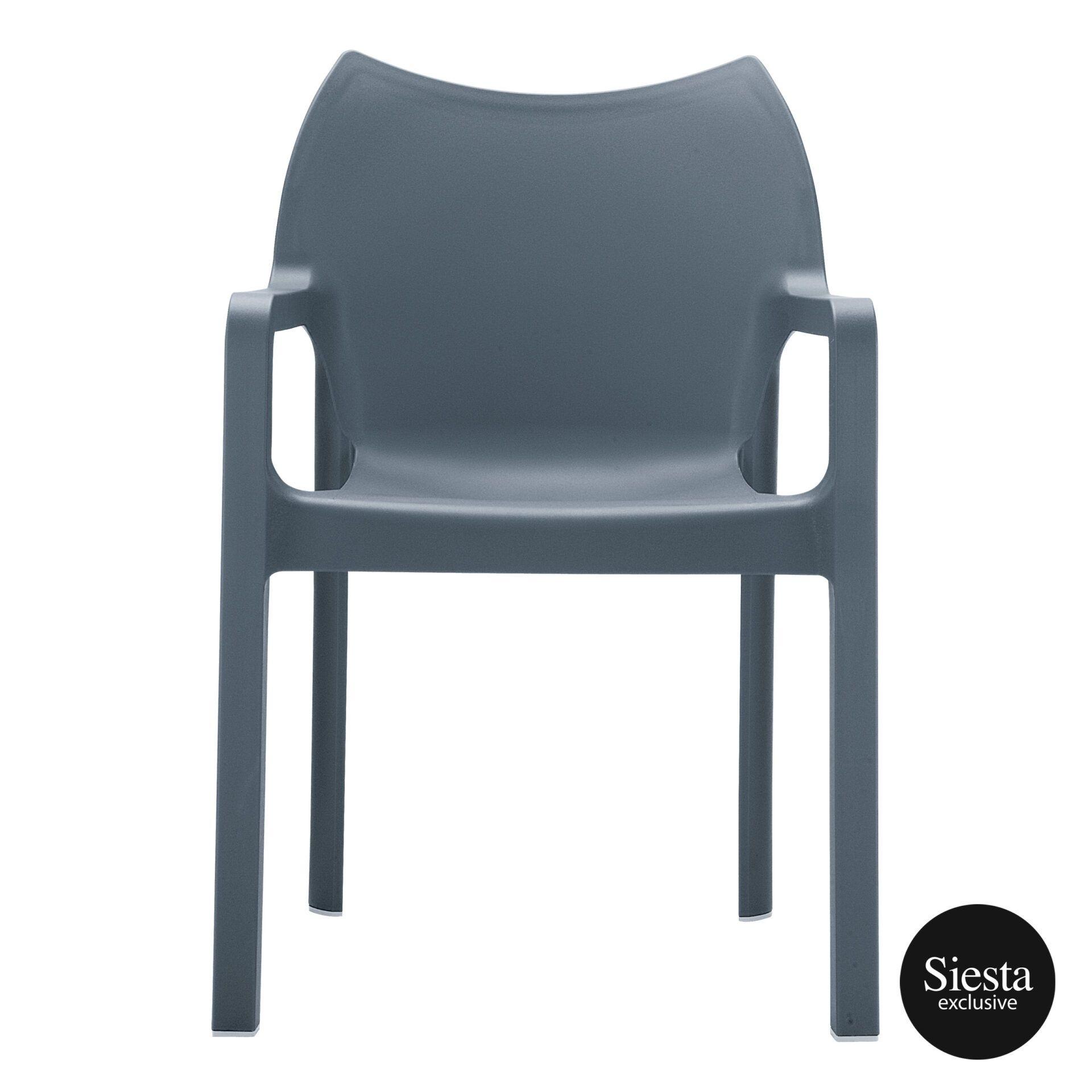 outdoor plastic seating diva chair dark grey front 1