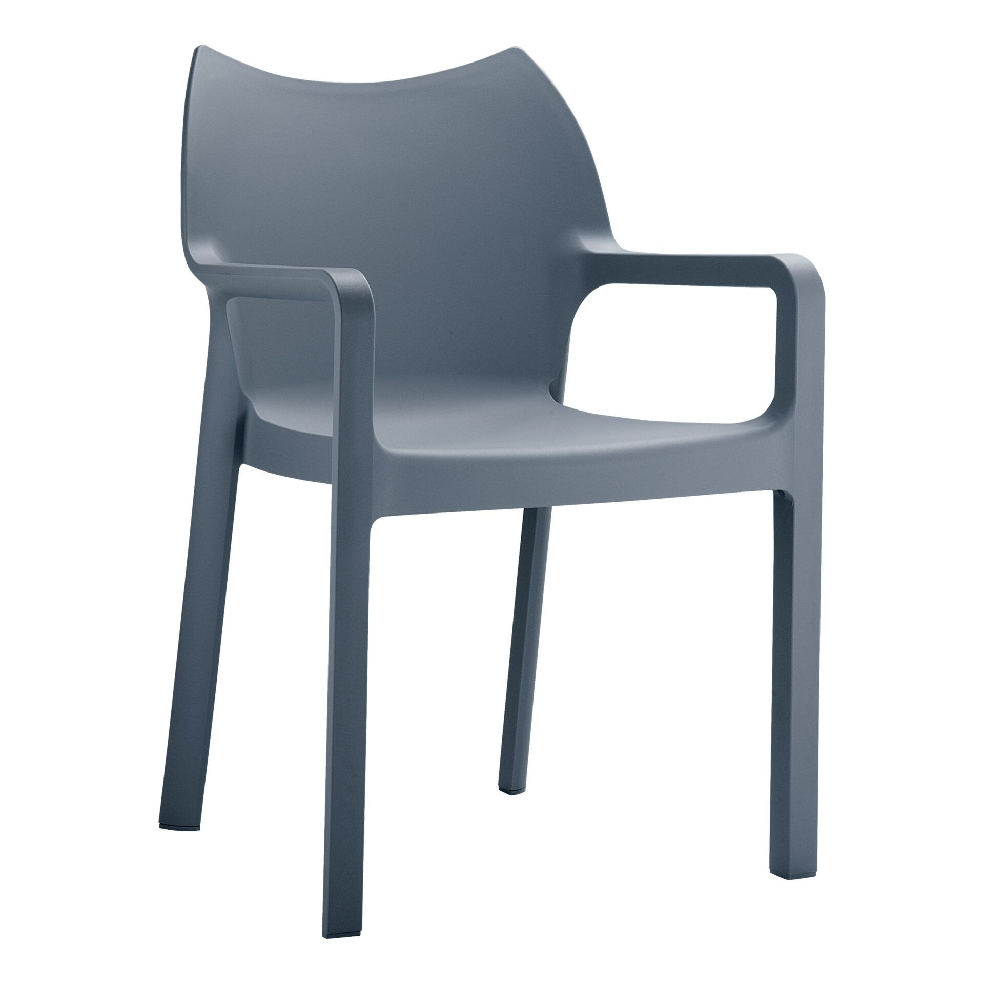 outdoor plastic seating diva chair dark grey front side
