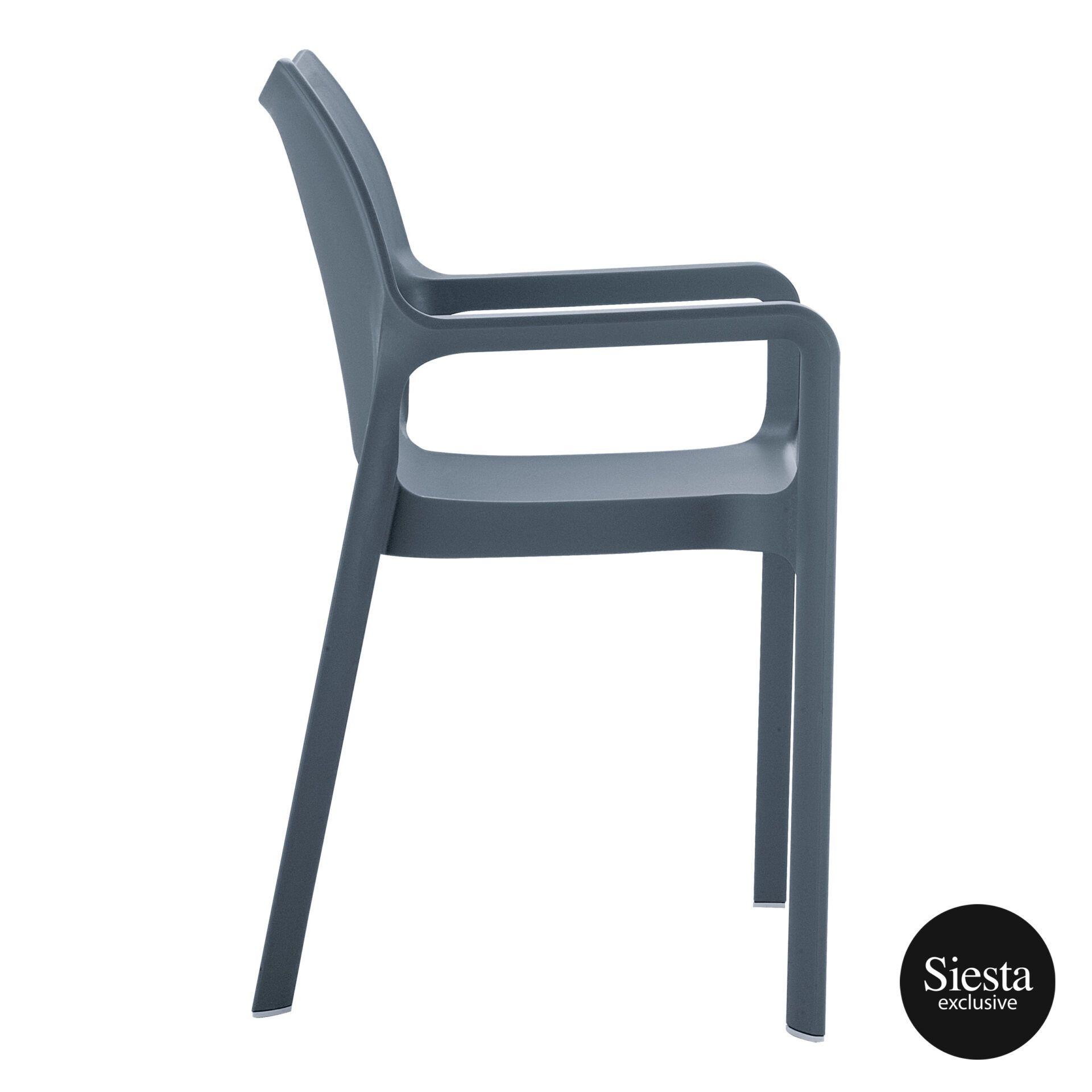 outdoor plastic seating diva chair dark grey side 1
